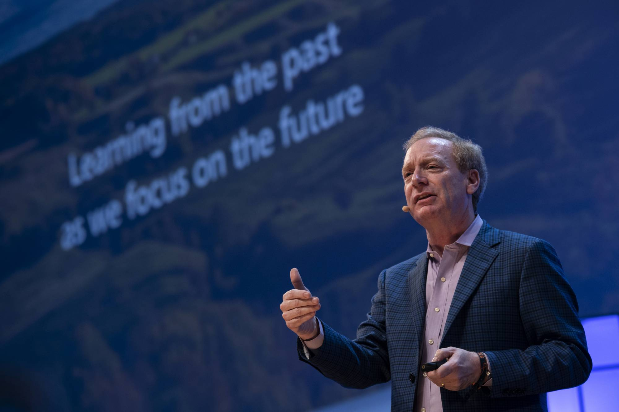 President of Microsoft Corporation Brad Smith is seen on