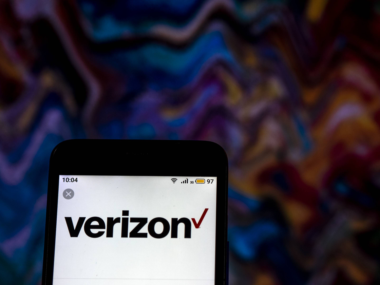 Verizon Wireless Telecommunications company logo seen