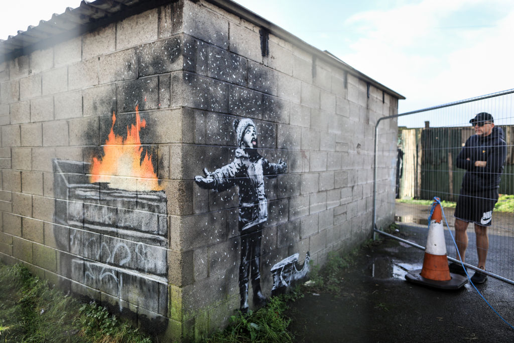 Banksy Appears On A Garage Wall In Port Talbot