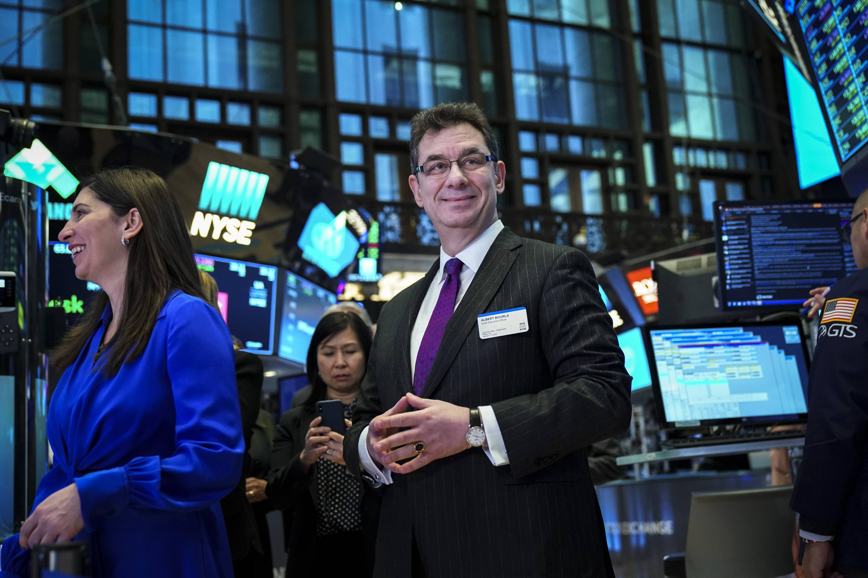 Pfizer CEO Rings NYSE Closing Bell As Stocks Rally On China Trade Hopes