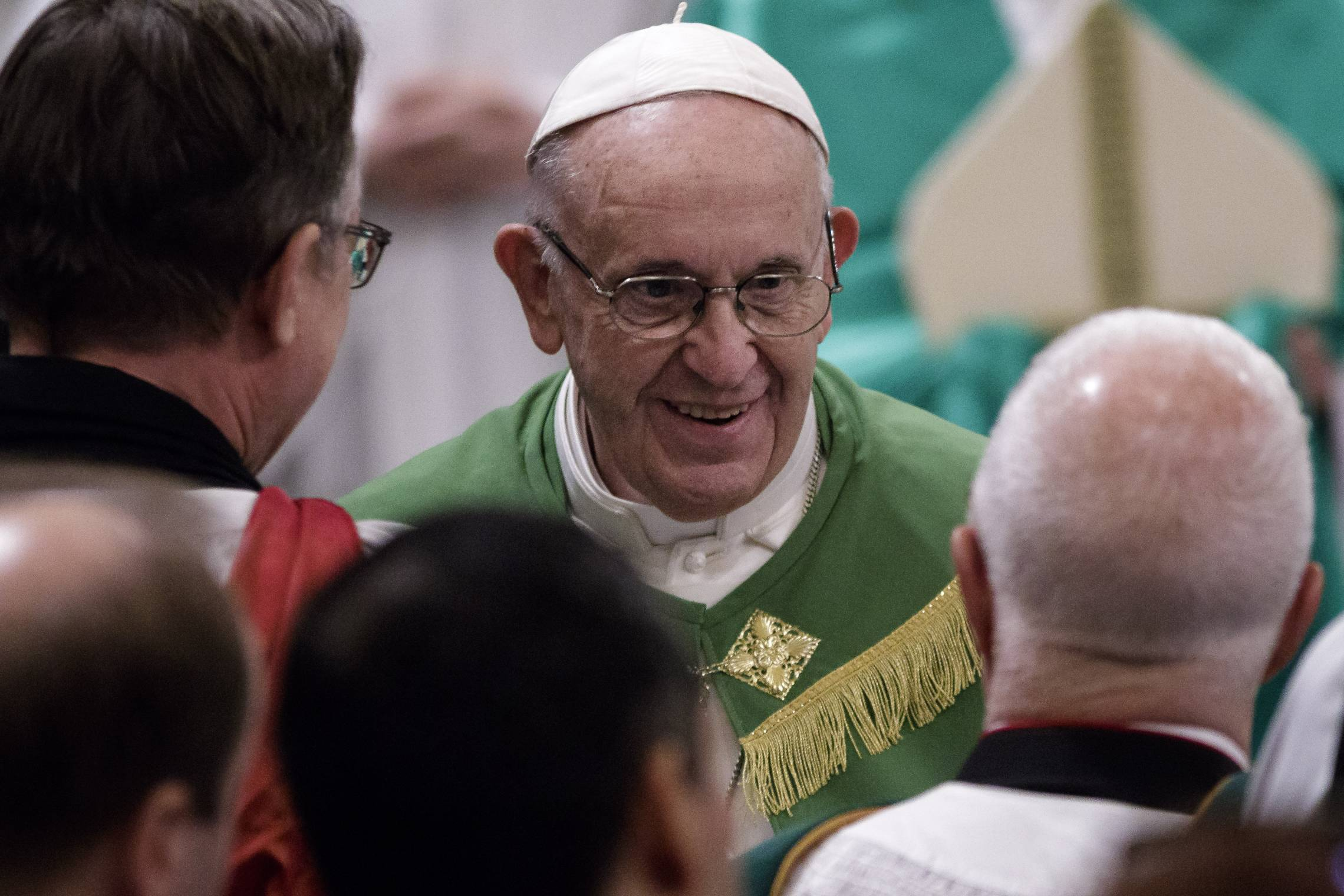 Pope Francis leads the celebration of the Vespers on the