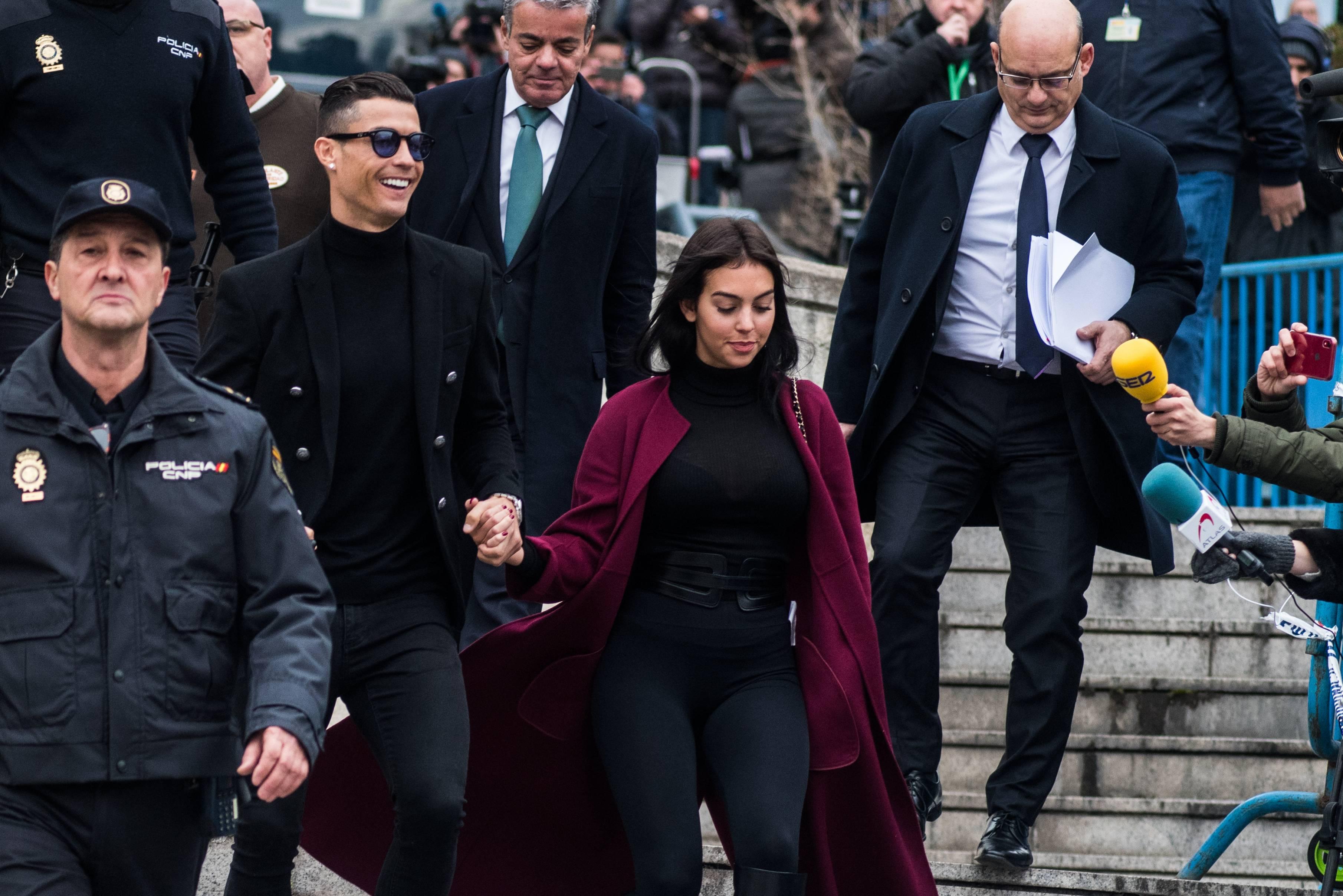 Portuguese football player Cristiano Ronaldo leaves '