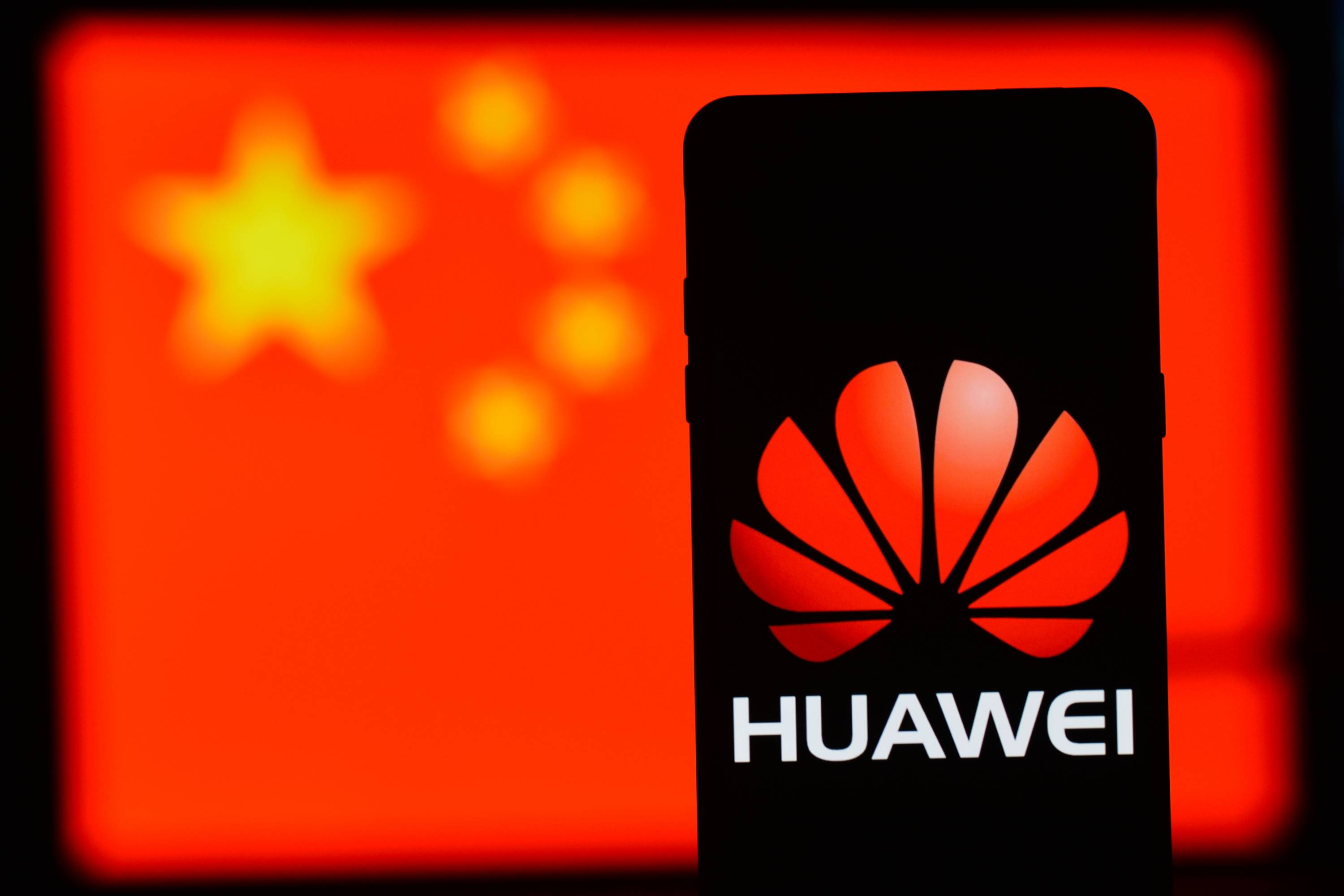 A Huawei logo seen displayed on a smart phone