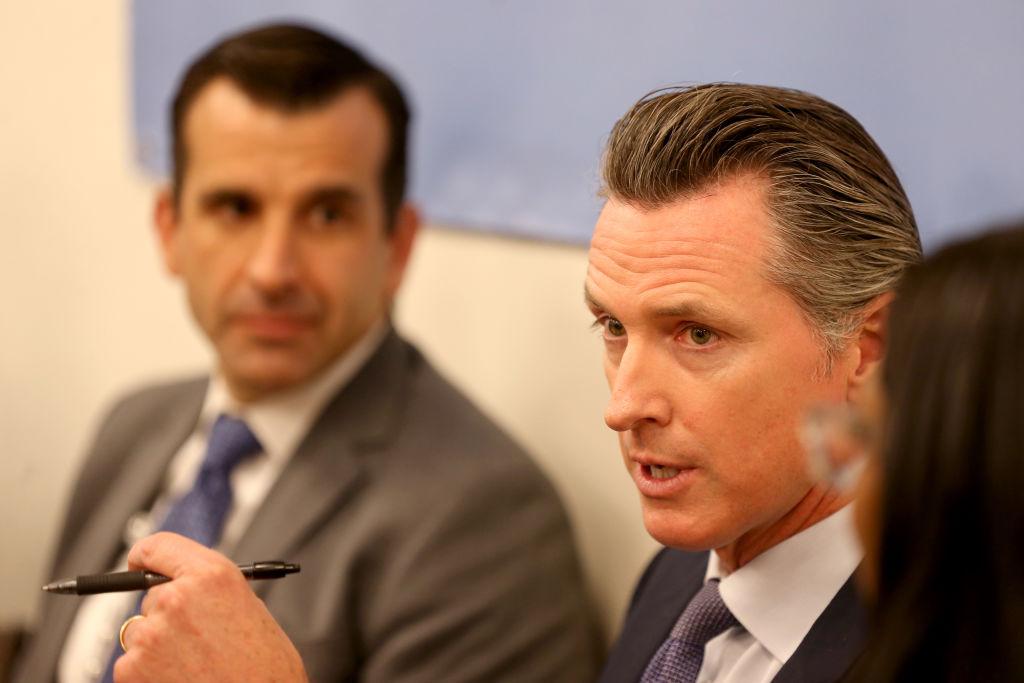 California Governor Gavin Newsom alongside San Jose Mayor Sam Liccardo host roundtable