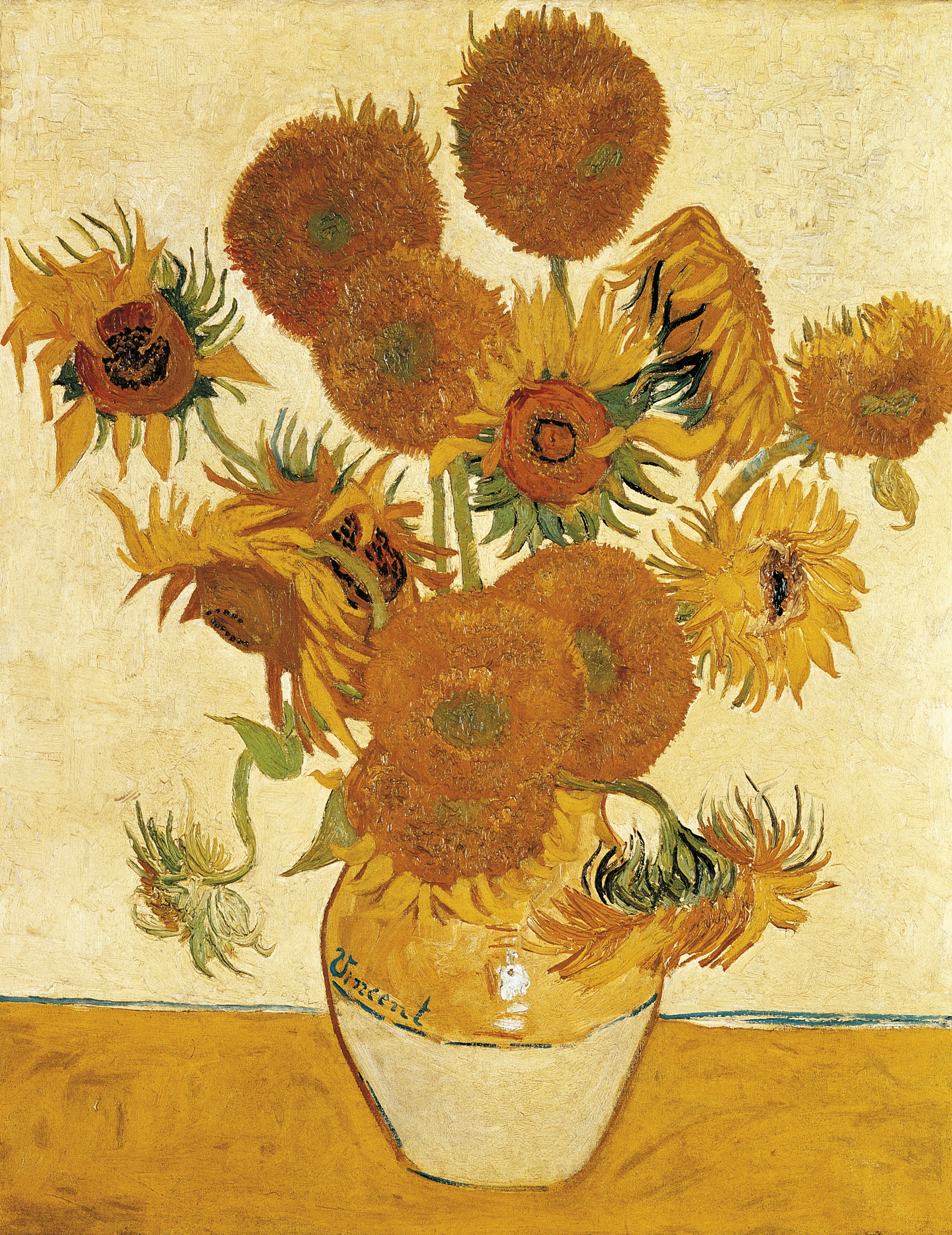 Vase with fifteen Sunflowers, 1888, by Vincent van Gogh (1853-1890), oil on canvas, 93x73 cm
