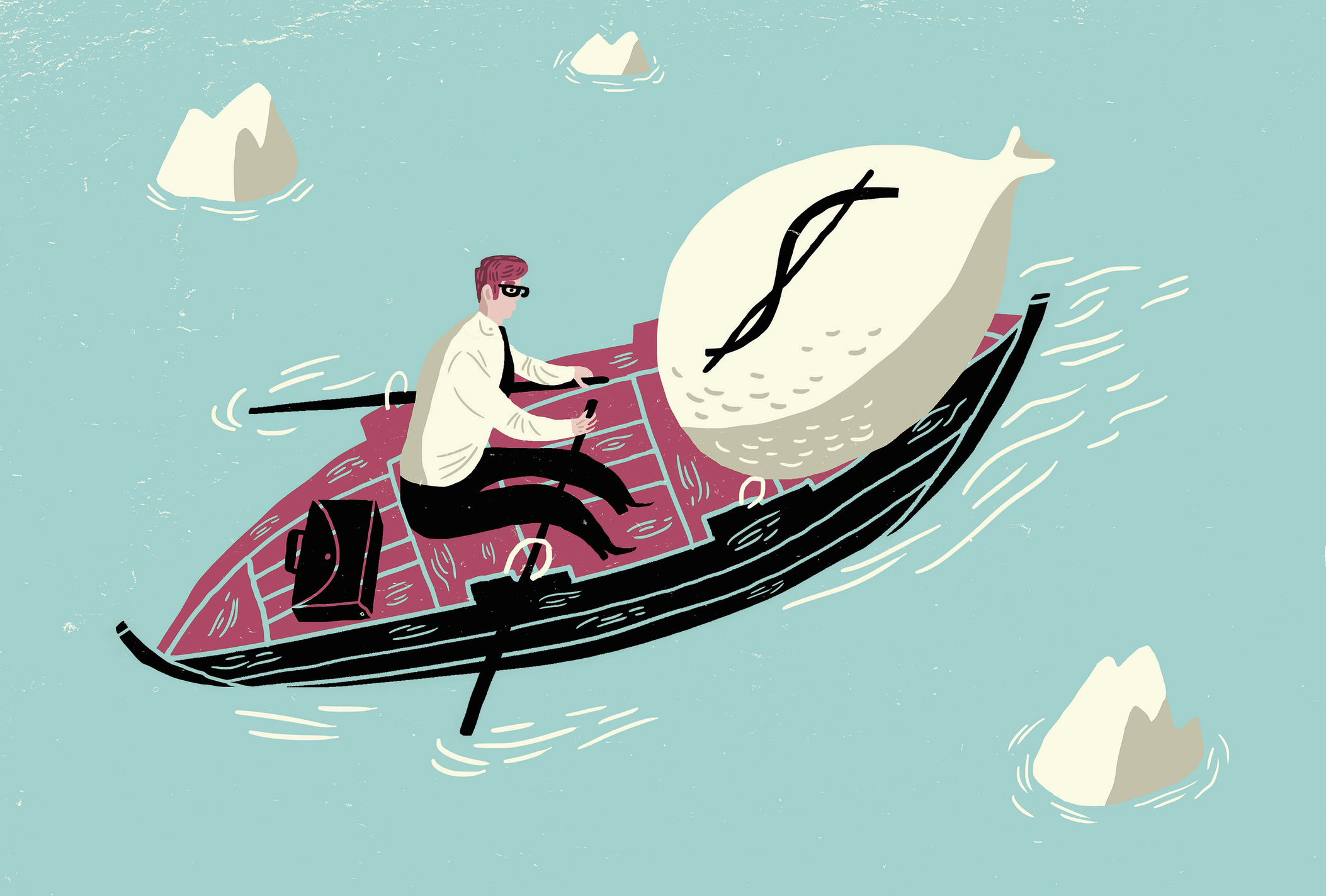 Businessman with large dollar money bag in rowing boat
