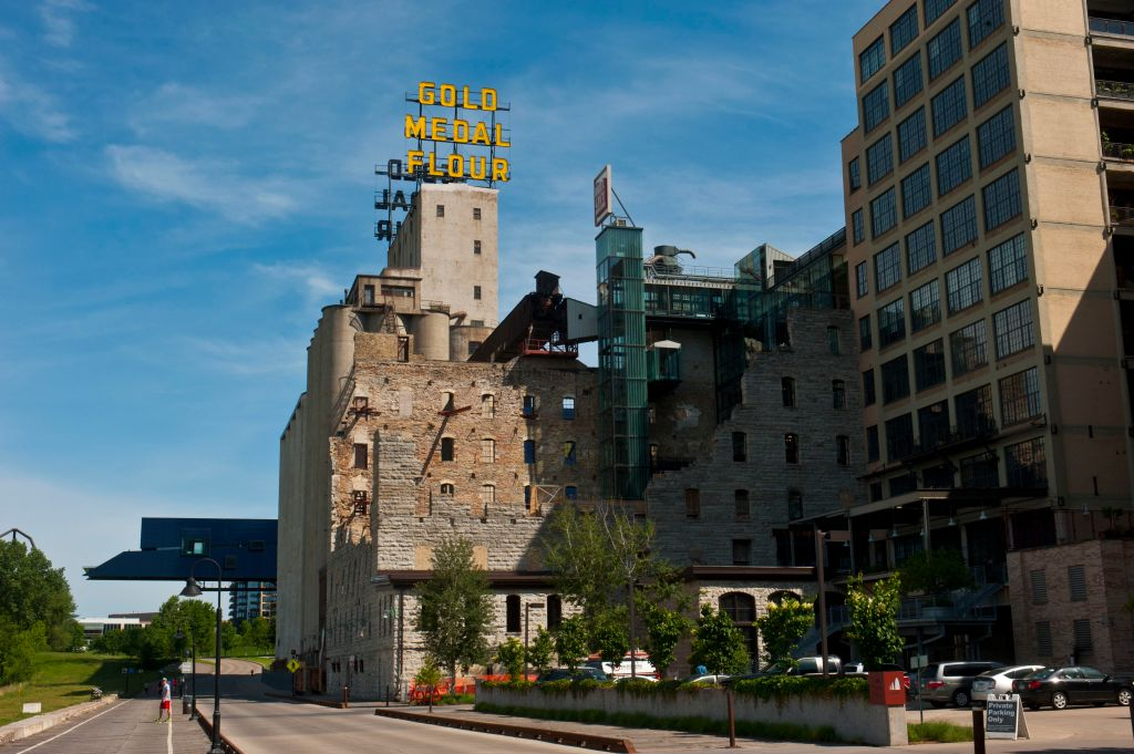 Minnesota, Minneapolis Mill Ruins Park. Gold Medal Flour Elevator Structure Ruins