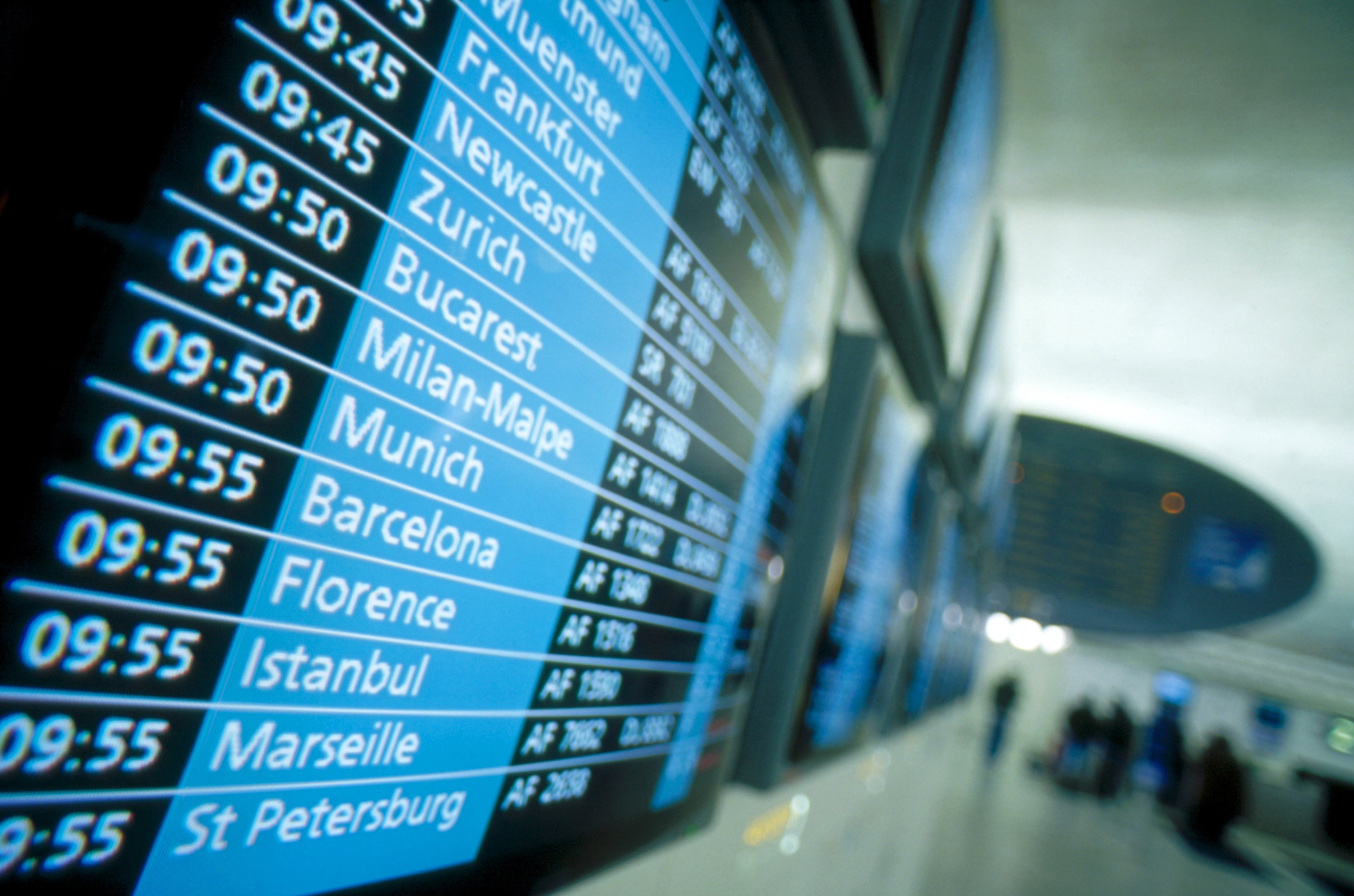 Airlines timely schedule, departure and arrival of flights, Arlanda airport, Sweden