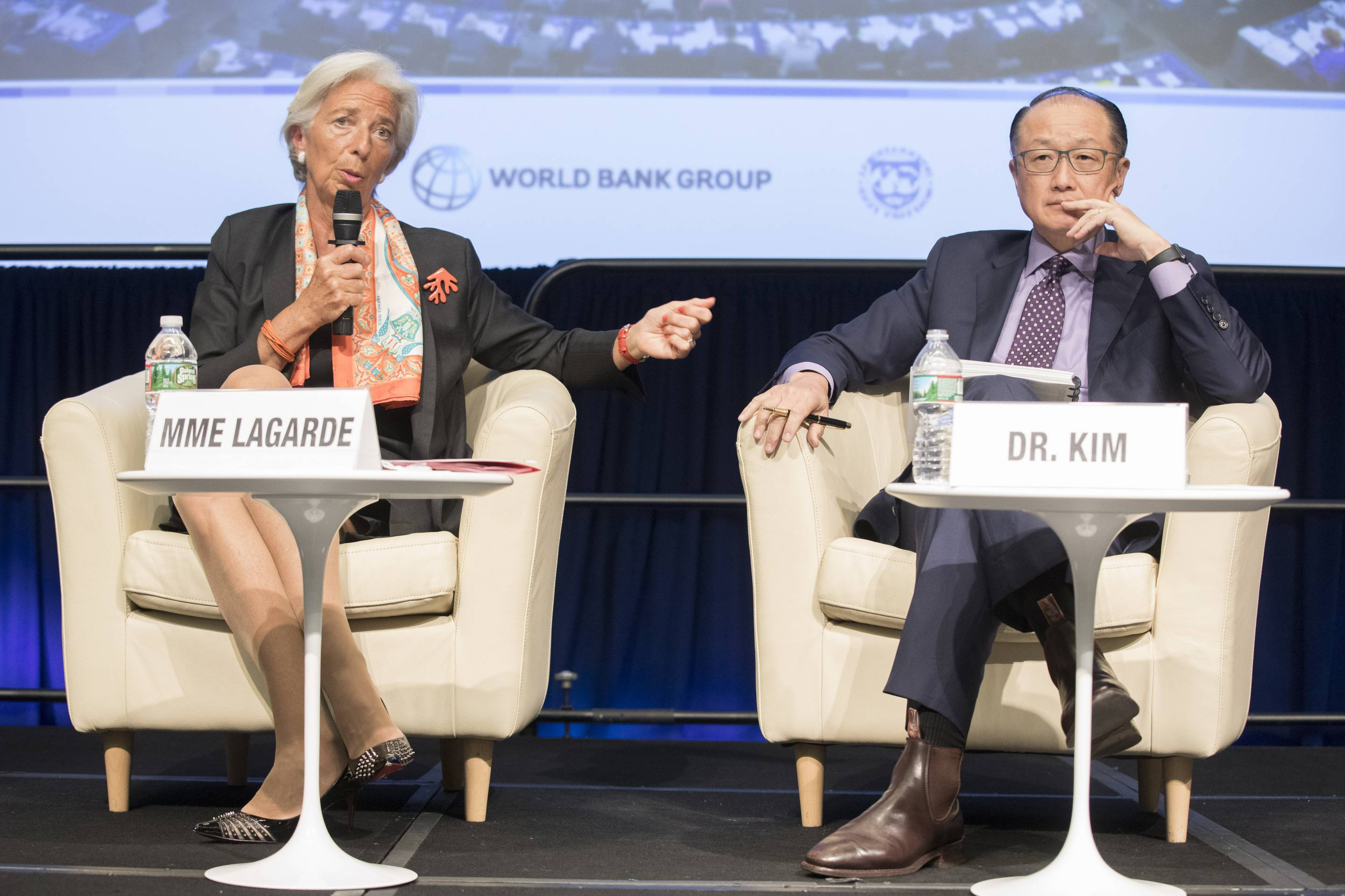 International Monetary Fund Managing Director Christine Lagarde (L) and World Bank President Jim Yong Kim (R) share a stage on Apr. 17, 2017 in Washington, D.C.