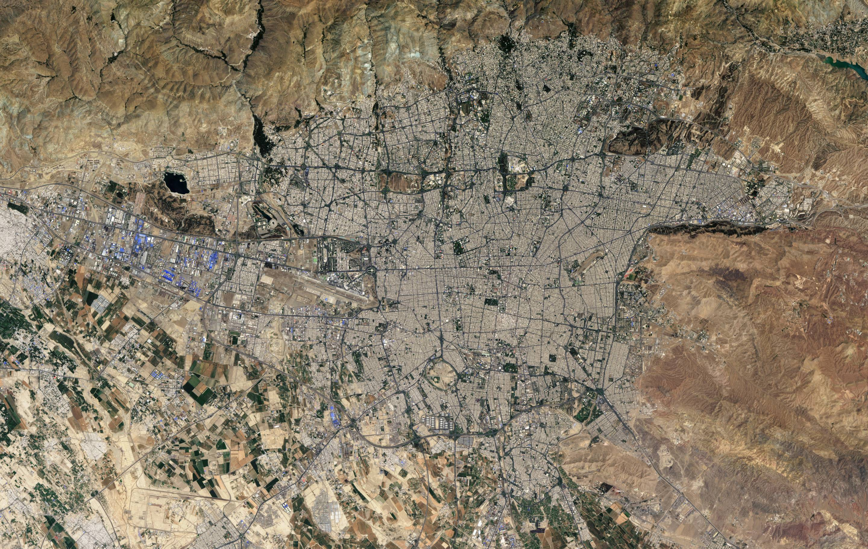 A satellite view of Tehran, Iran