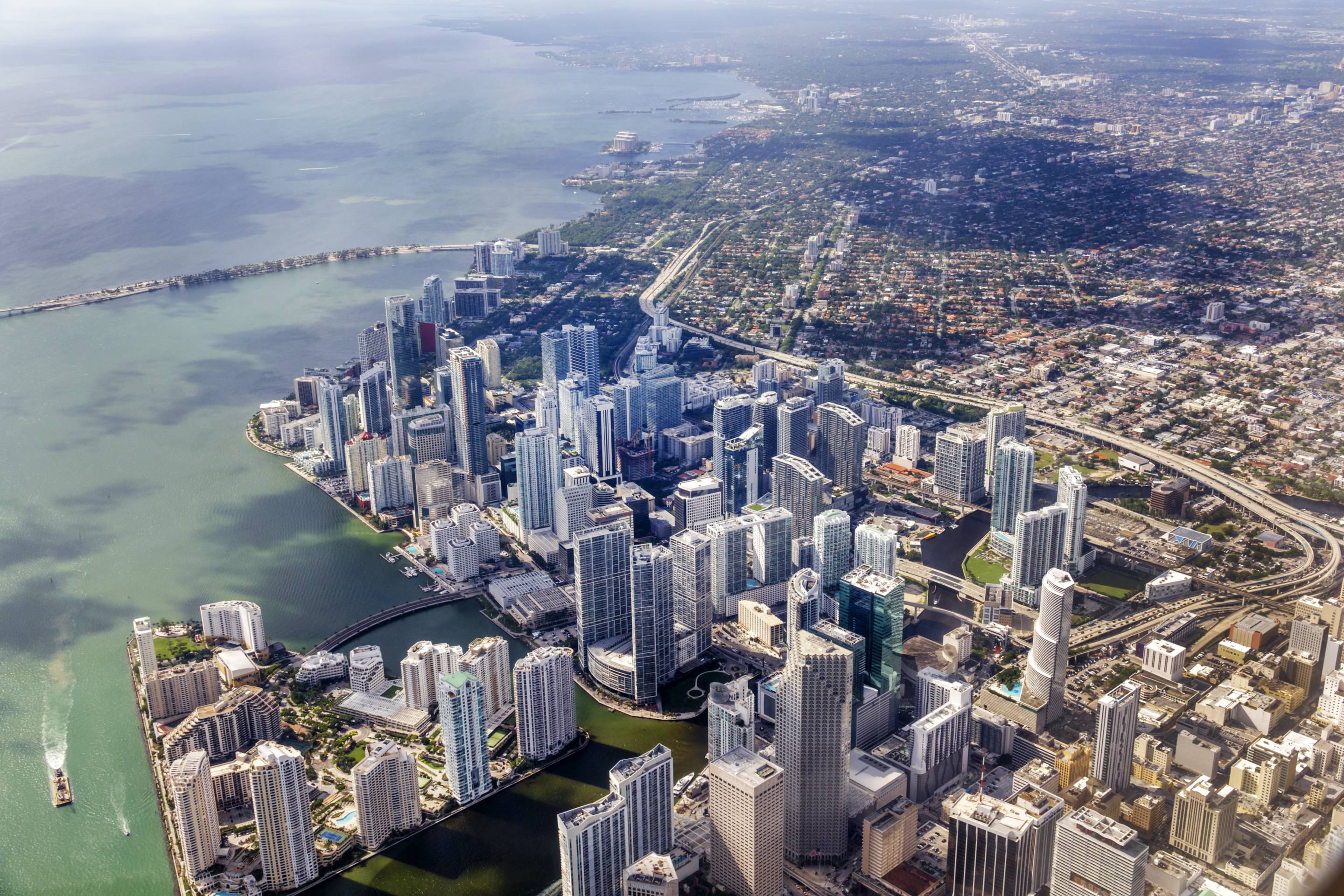Florida, Miami, window seat aerial view, downtown