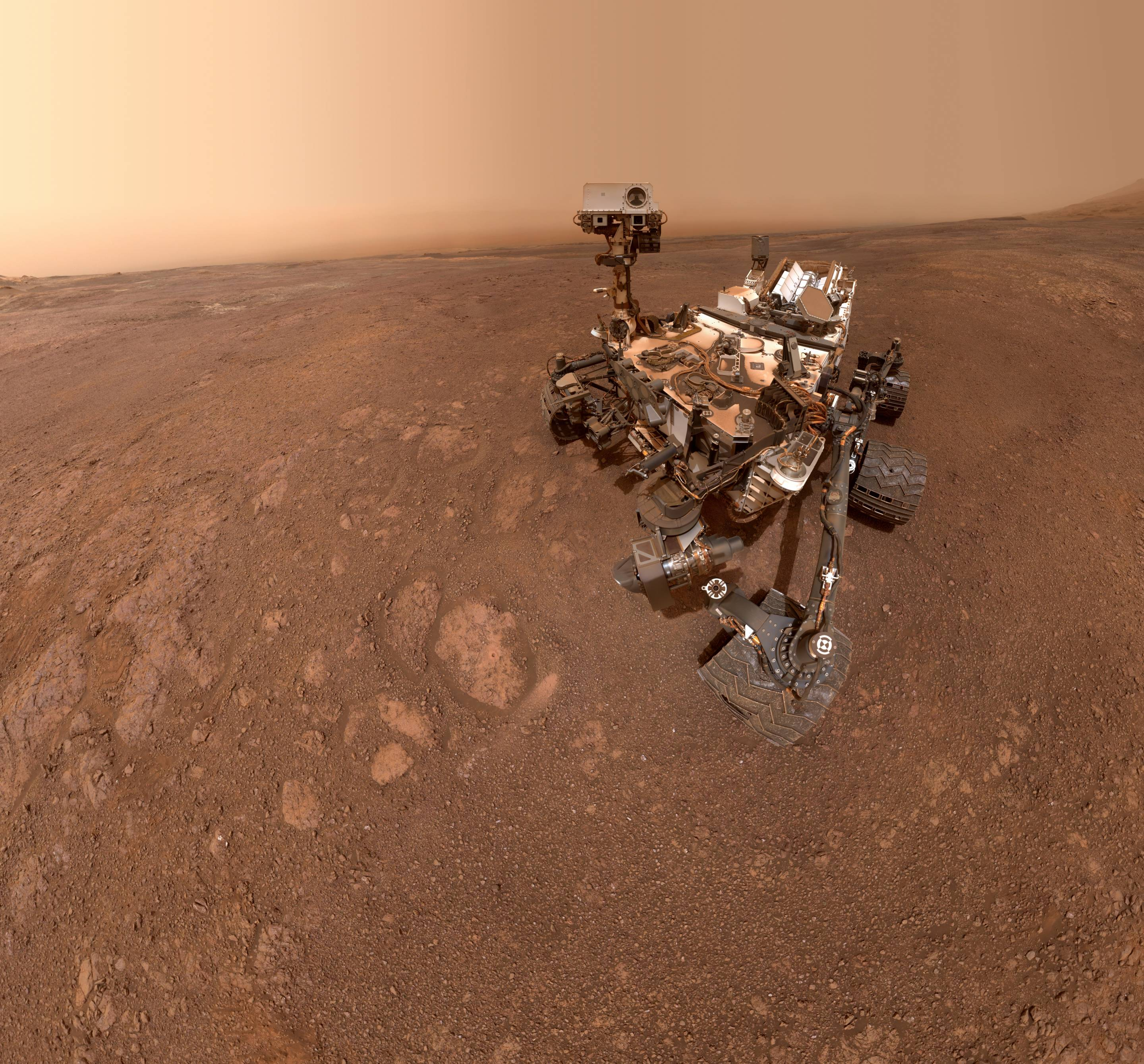 Mars Curiosity Rover poses for a selfie.