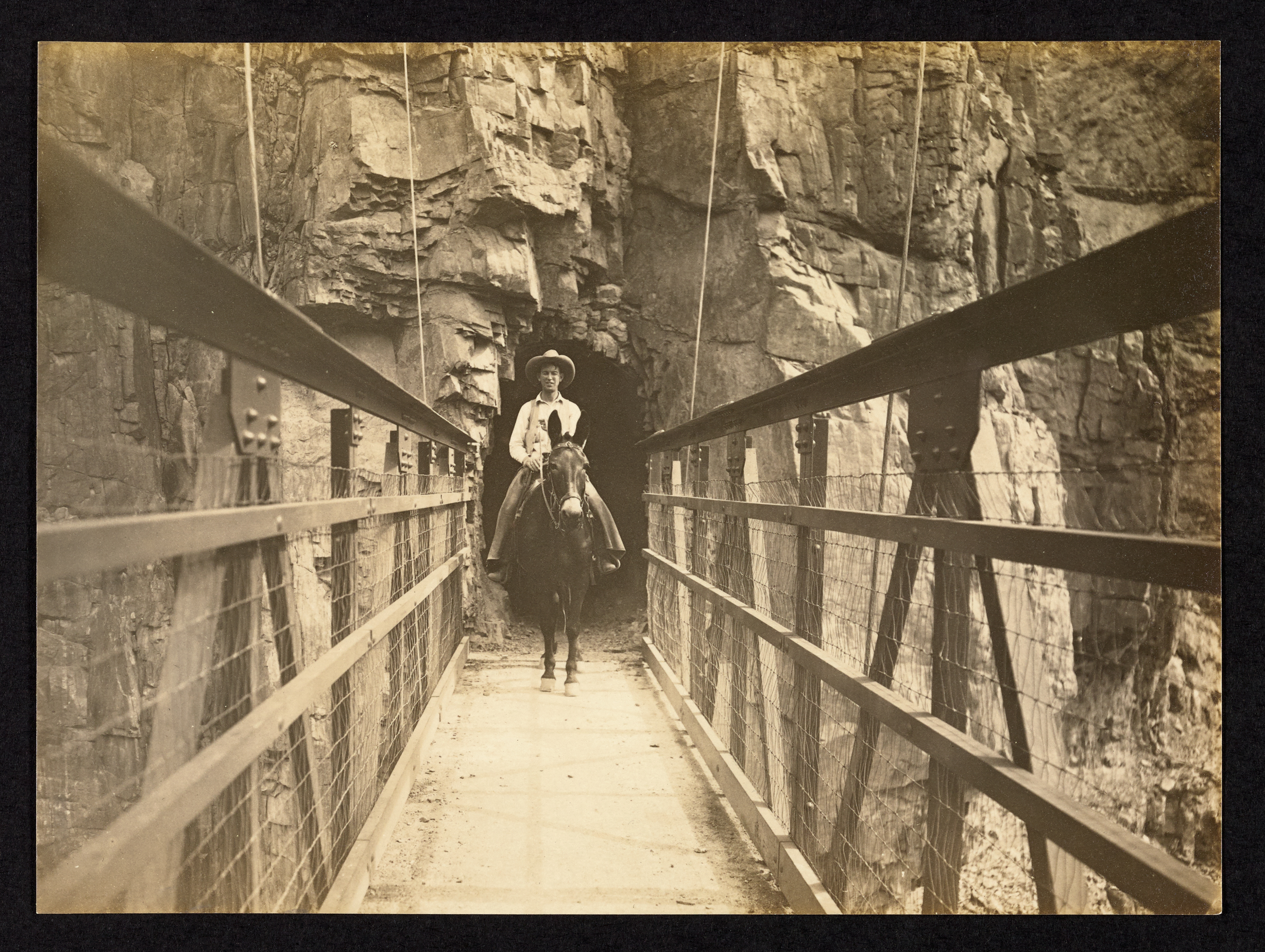 Mule and Rider exiting tunnel and crossing Kaibab Suspension Bridge in 1930.