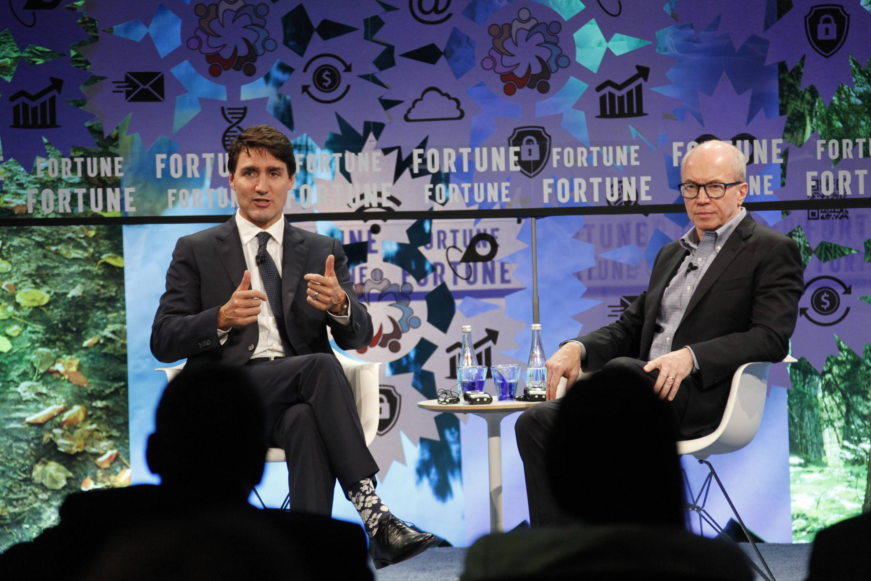 Canada's Prime Minister Justin Trudeau (L) receives an interview from Fortune CEO Alan Murray during last year's Fortune Global Forum.