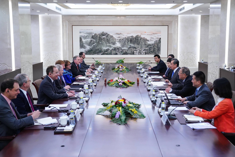 Wang Yi Meets With U.S. Delegation In Beijing