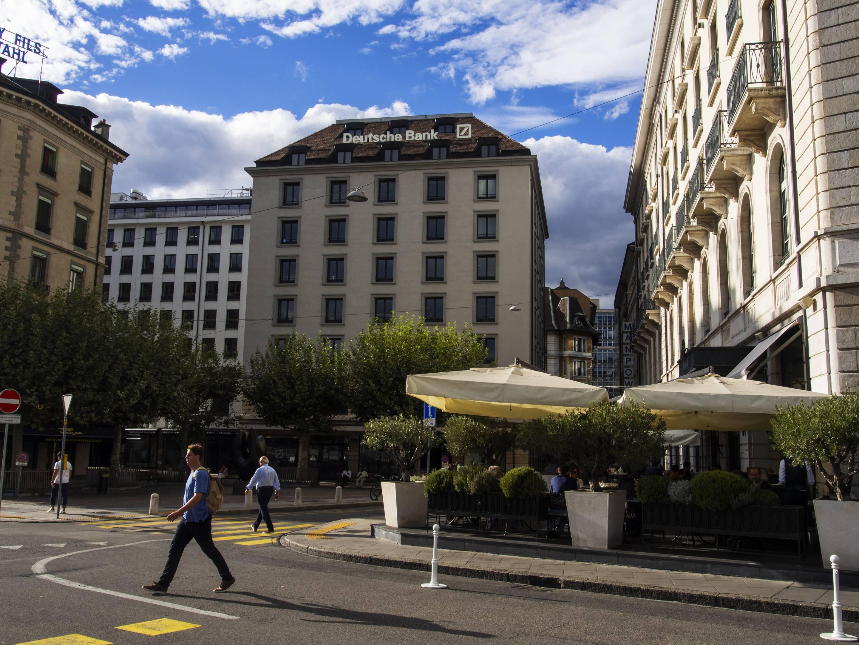 Deutsche Bank seen on the Quai des Bergues, Geneva, Deutsche