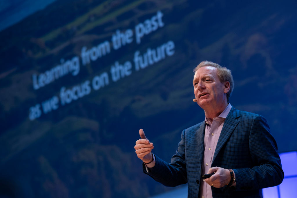 President of Microsoft Corporation Brad Smith is seen on