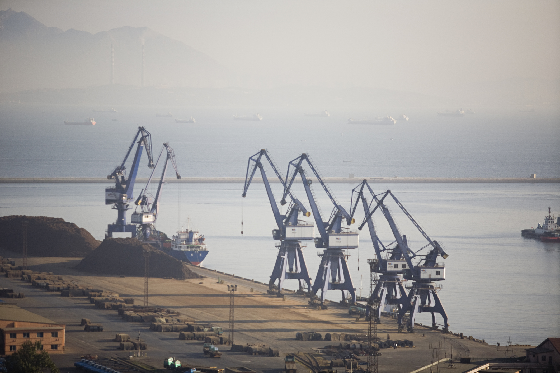 cargo cranes on The Port of Dalian
