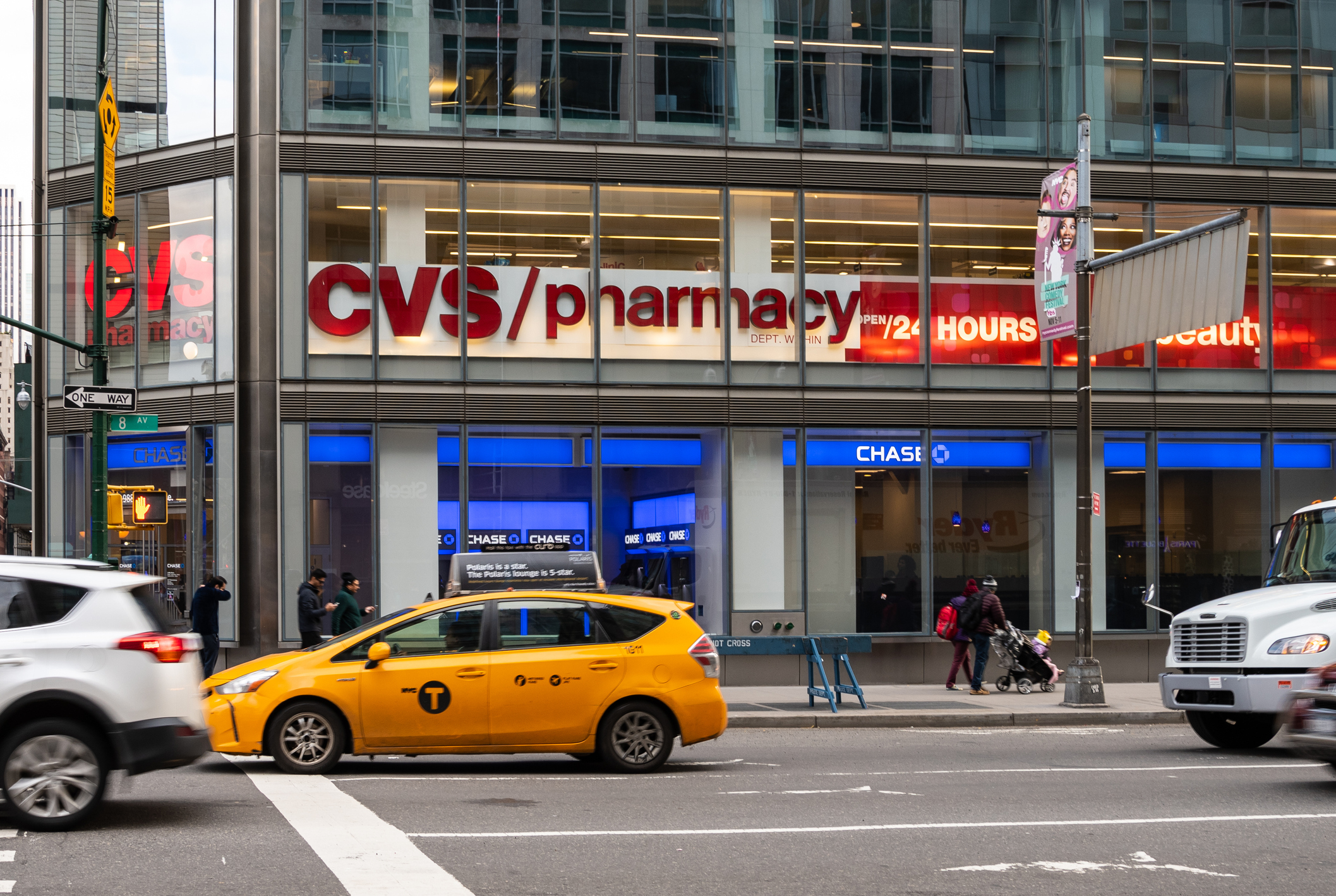 The entrance to CVS pharmacy and Chase bank on 8th Avenue