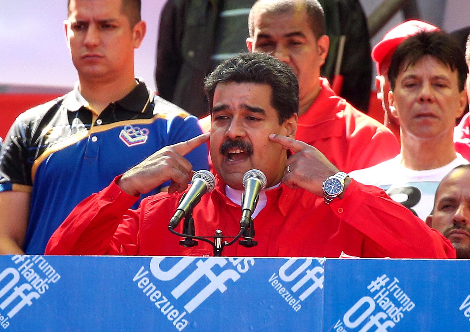 Rallies support President Maduro in Caracas, Venezuela
