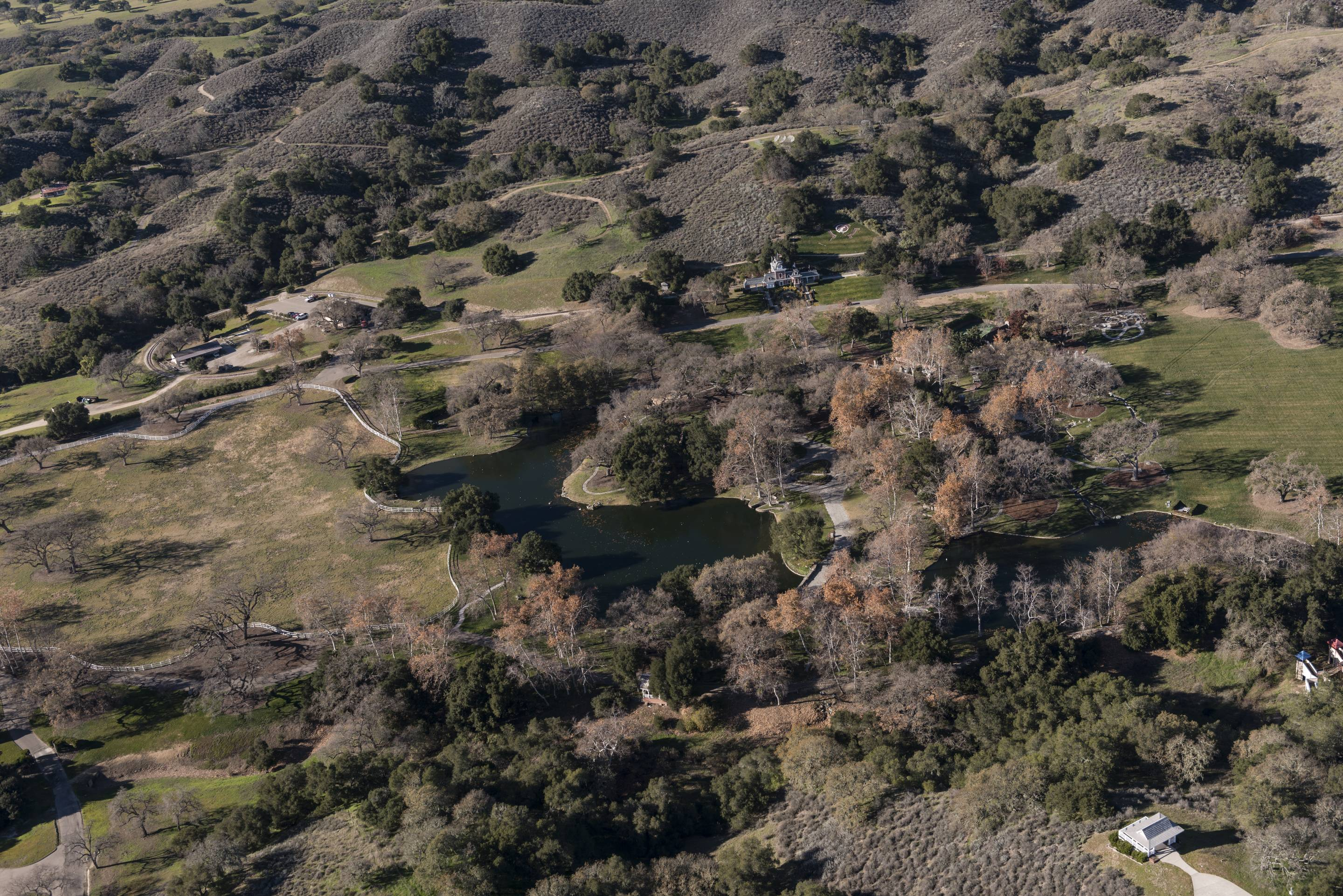 Aerial view of Neverland Ranch, once the home of famed singer Michael Jackson, in the Santa Ynez Val