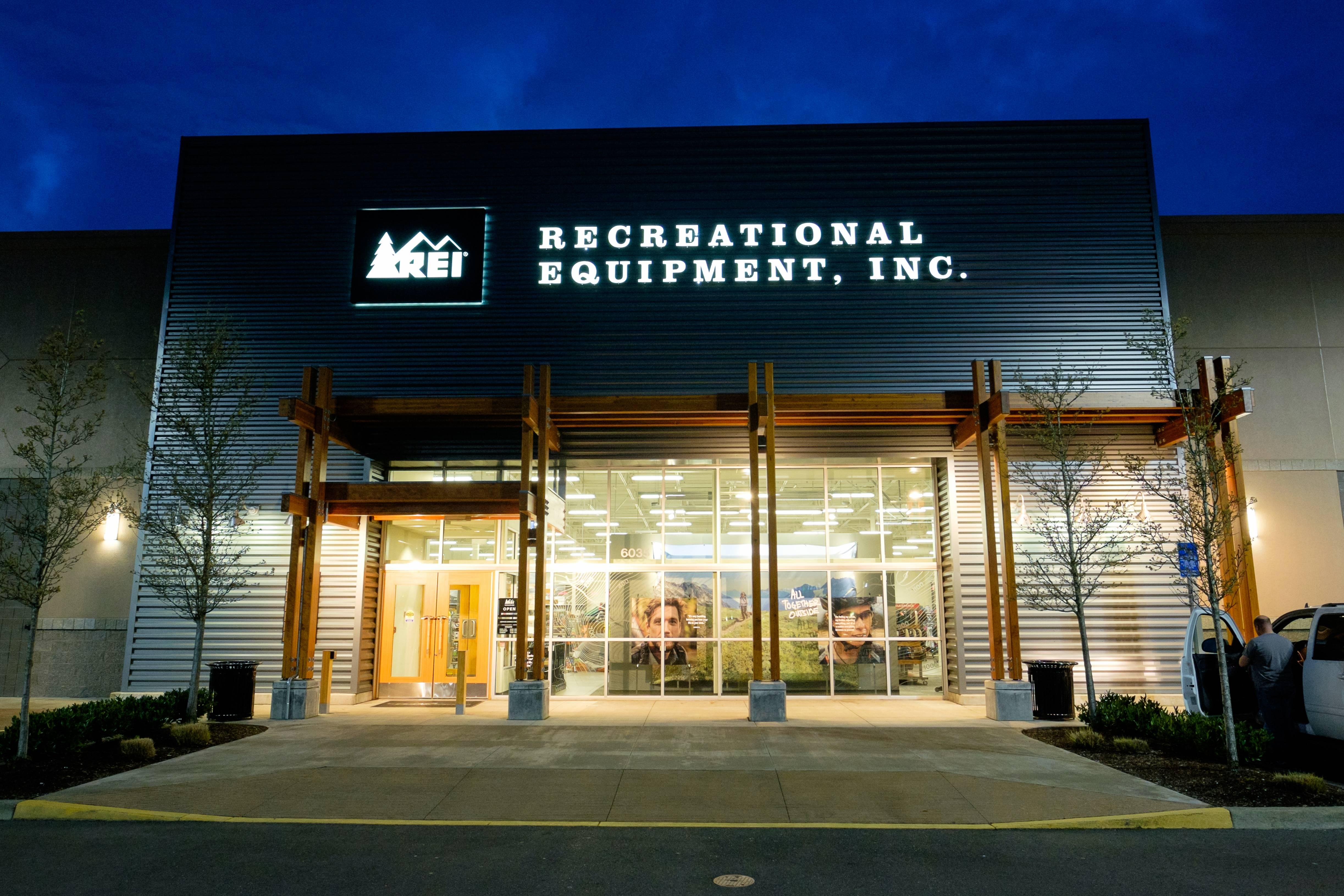 REI Storefront at Dusk in Salem Oregon