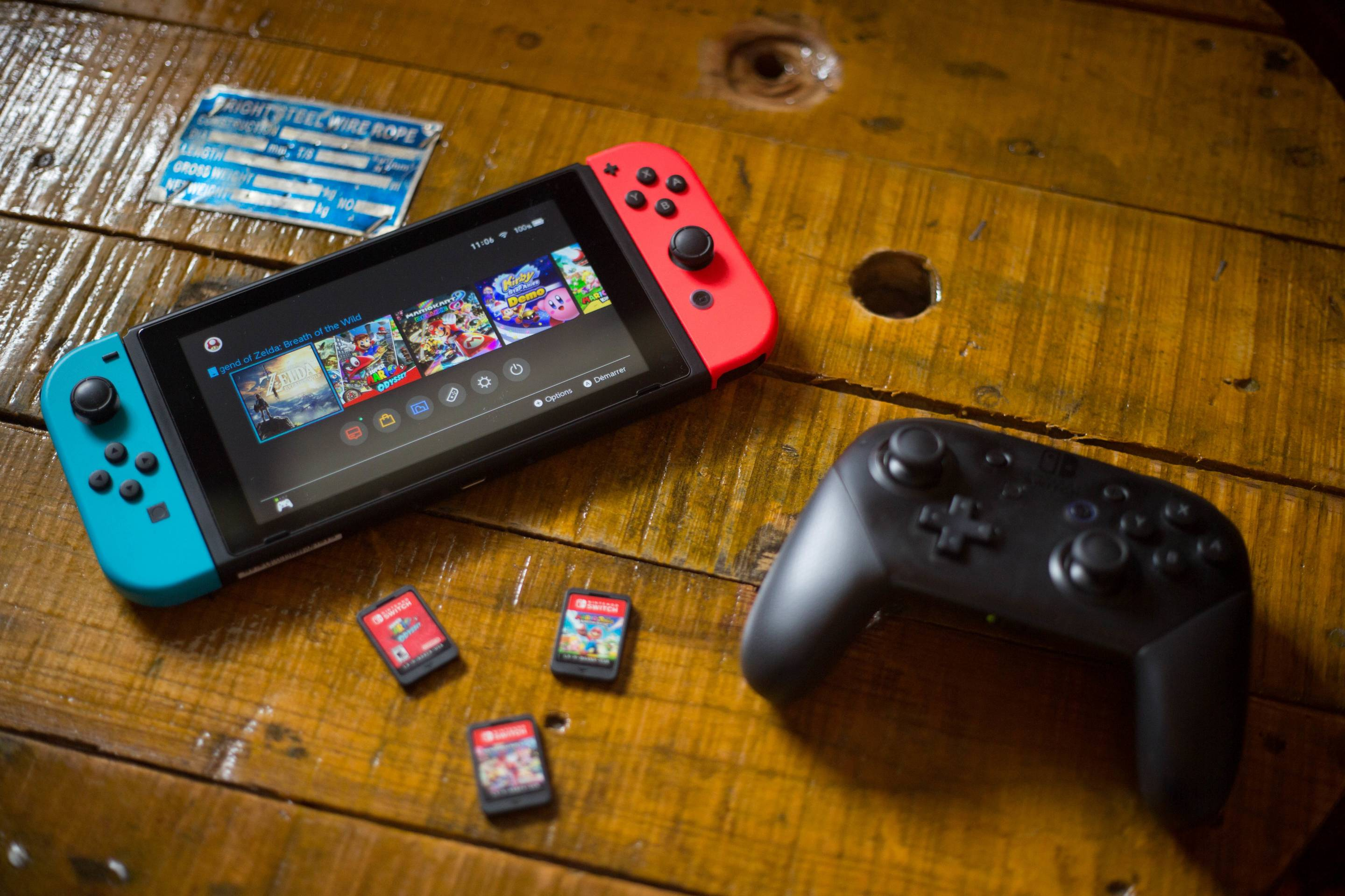 A turned on Nintendo Switch with 2 Joy-Con attached on it, a