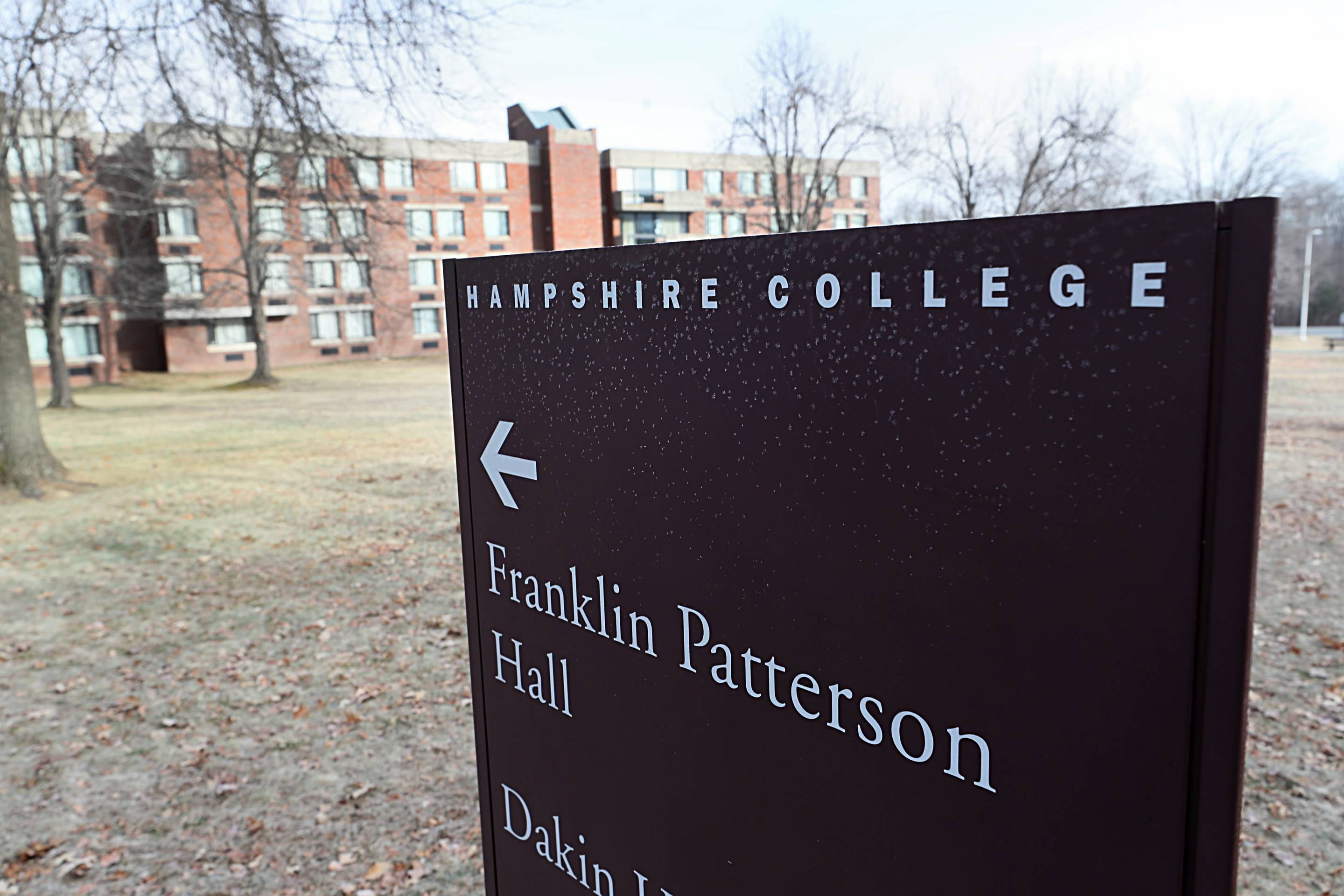 A sign on the campus of Hampshire College is pictured on Jan. 15, 2019.