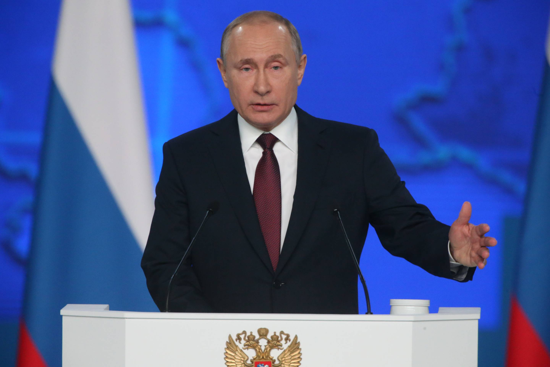 Russian President Vladimir Putin addresses to the nation