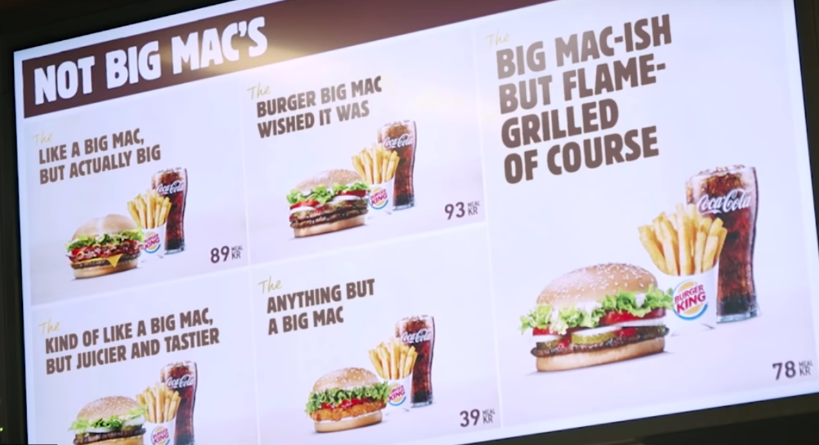 """A screengrab of Burger King's spoof involving the """"Burger Big Mac Wished It Was"""""""