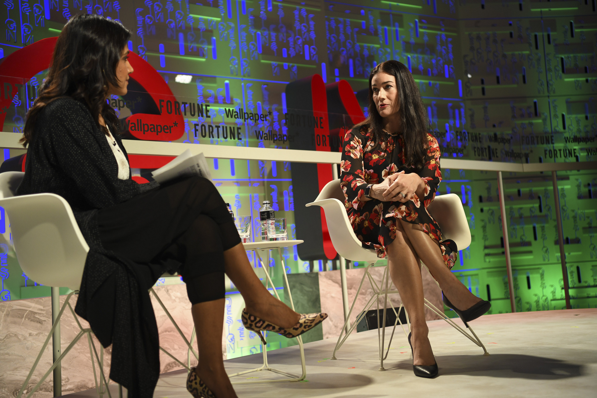 Airbnb transportation director Jenny Arden (right), with Fortune's Maithreyi Seetharaman, at the 2019 Fortune Brainstorm Design conference in Singapore.