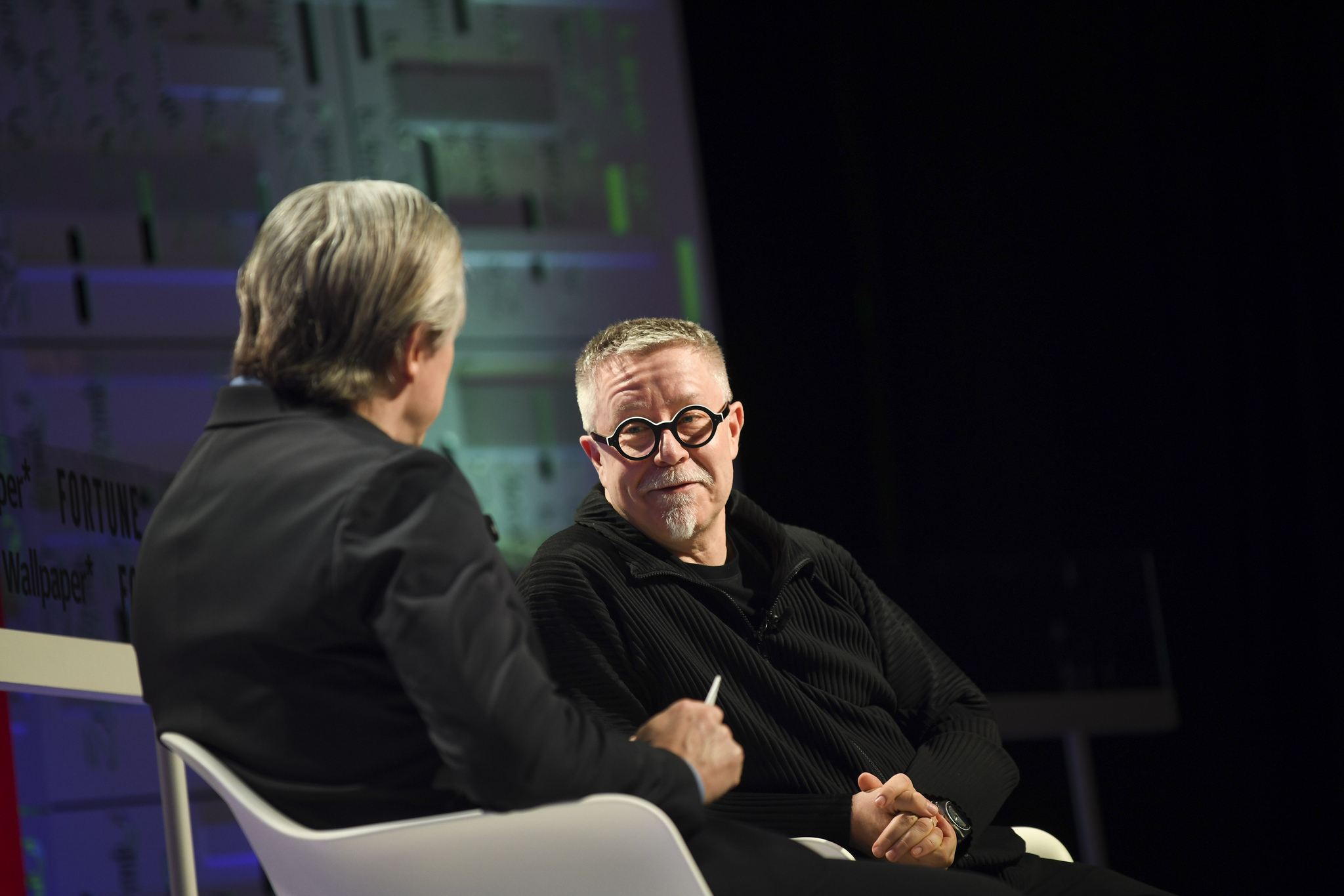 IDEO CEO Tim Brown (right), with Fortune's Clay Chandler, at the 2019 Fortune Brainstorm Design conference in Singapore.