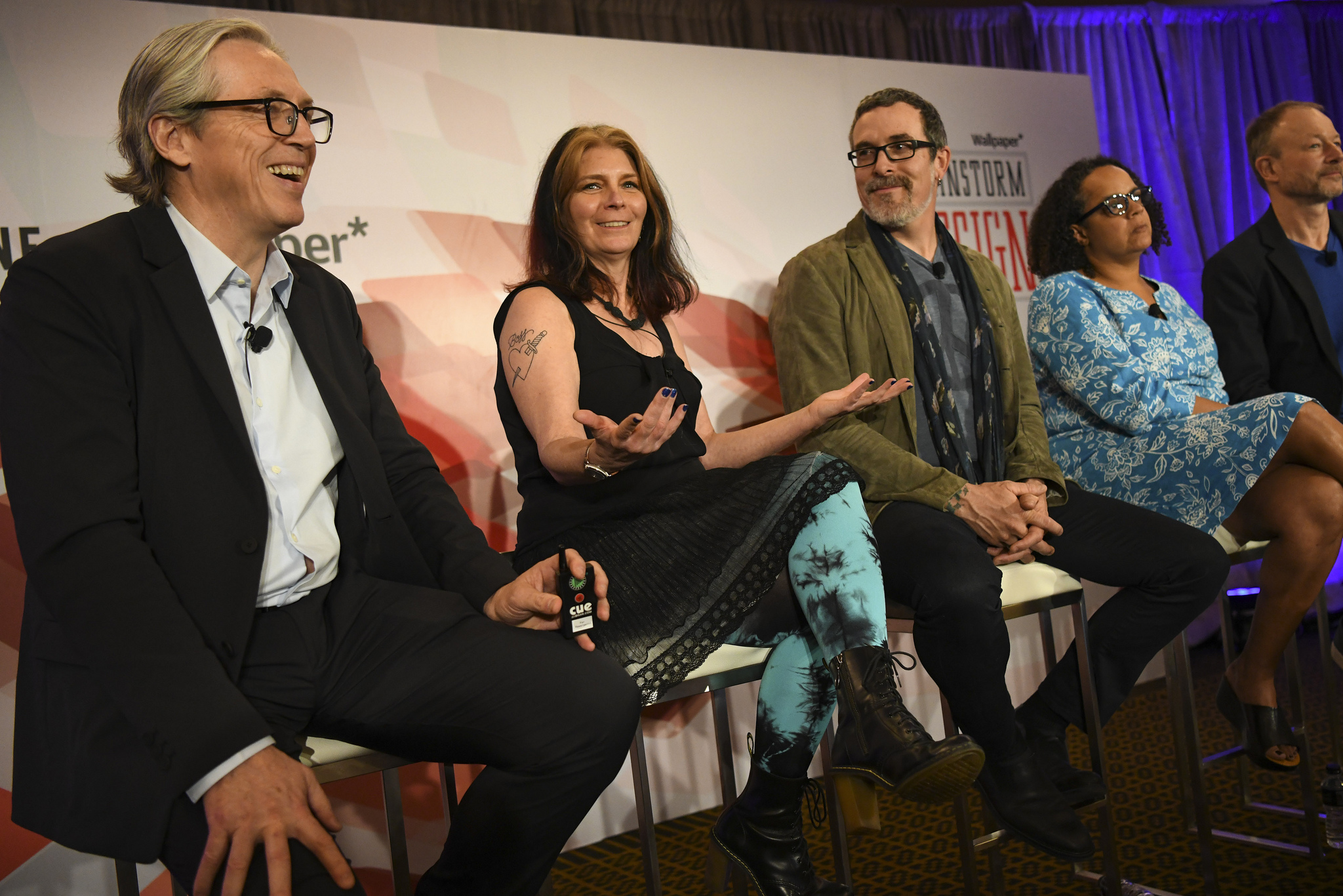 Fortune's Clay Chandler with author Maria Giudice, Justin Maguire of Salesforce, Nalini Kotamraju of Salesforce, and Harry West of Invisible Design at the 2019 Fortune Brainstorm Design conference in Singapore.