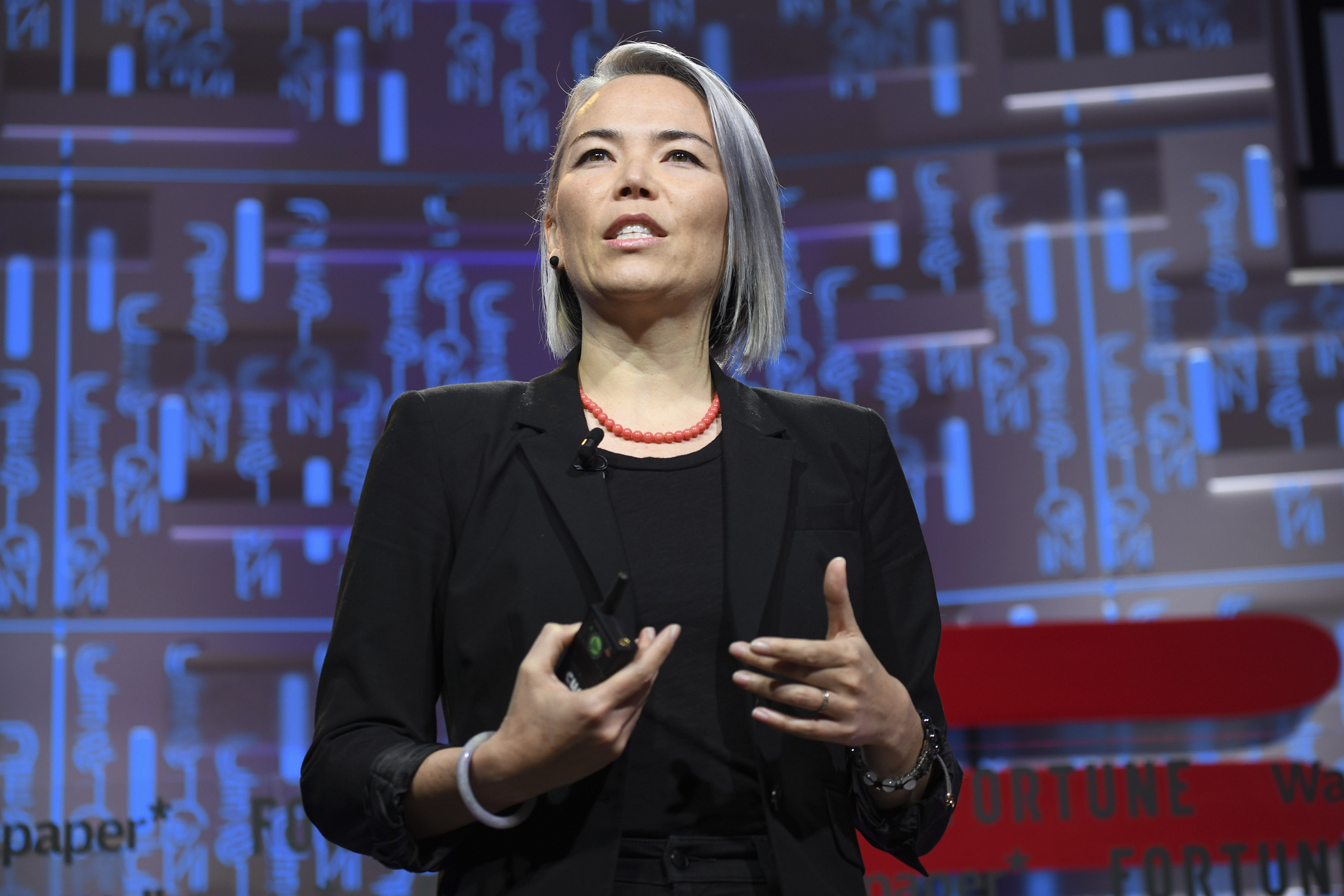 Google director of UX design Kat Holmes speaking at the 2019 Fortune Brainstorm Design conference in Singapore.