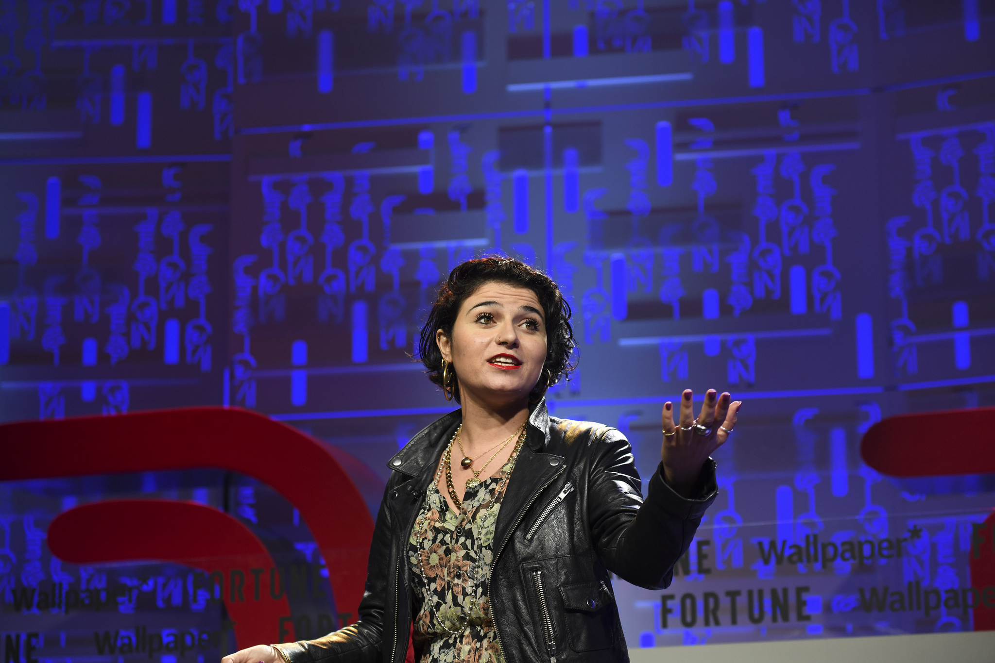 Nelly Ben Hayoun, director of Nelly Ben Hayoun Studios, speaking at the 2019 Fortune Brainstorm Design conference in Singapore.