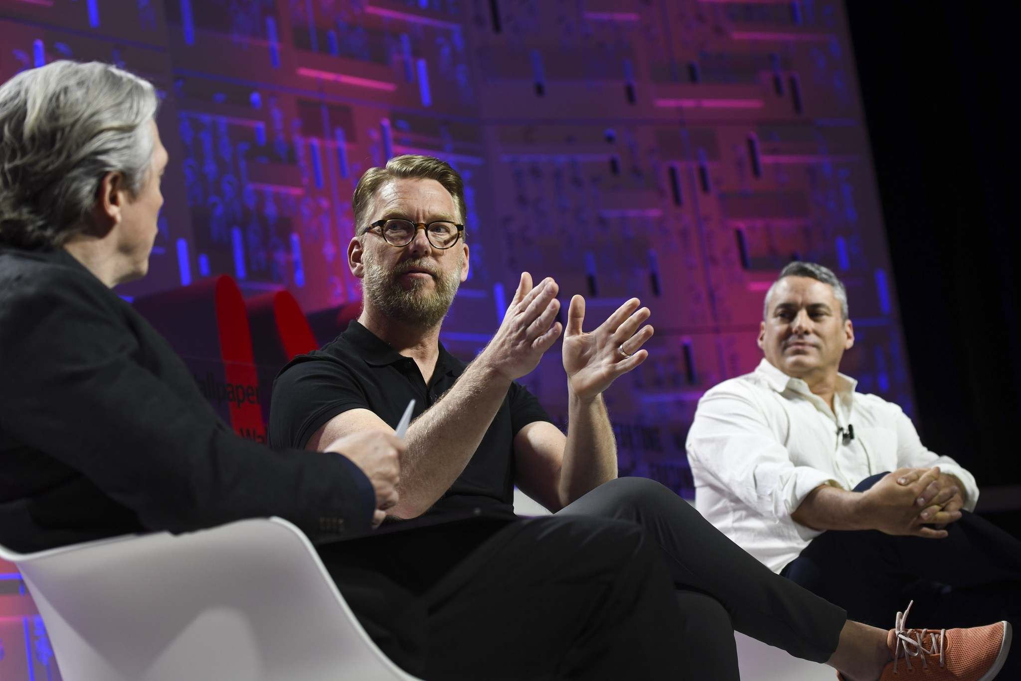 Doug Powell of IBM (middle) and Nathan Shedroff of Seed Vault (right) with Clay Chandler of Fortune at the 2019 Fortune Brainstorm Design conference in Singapore.