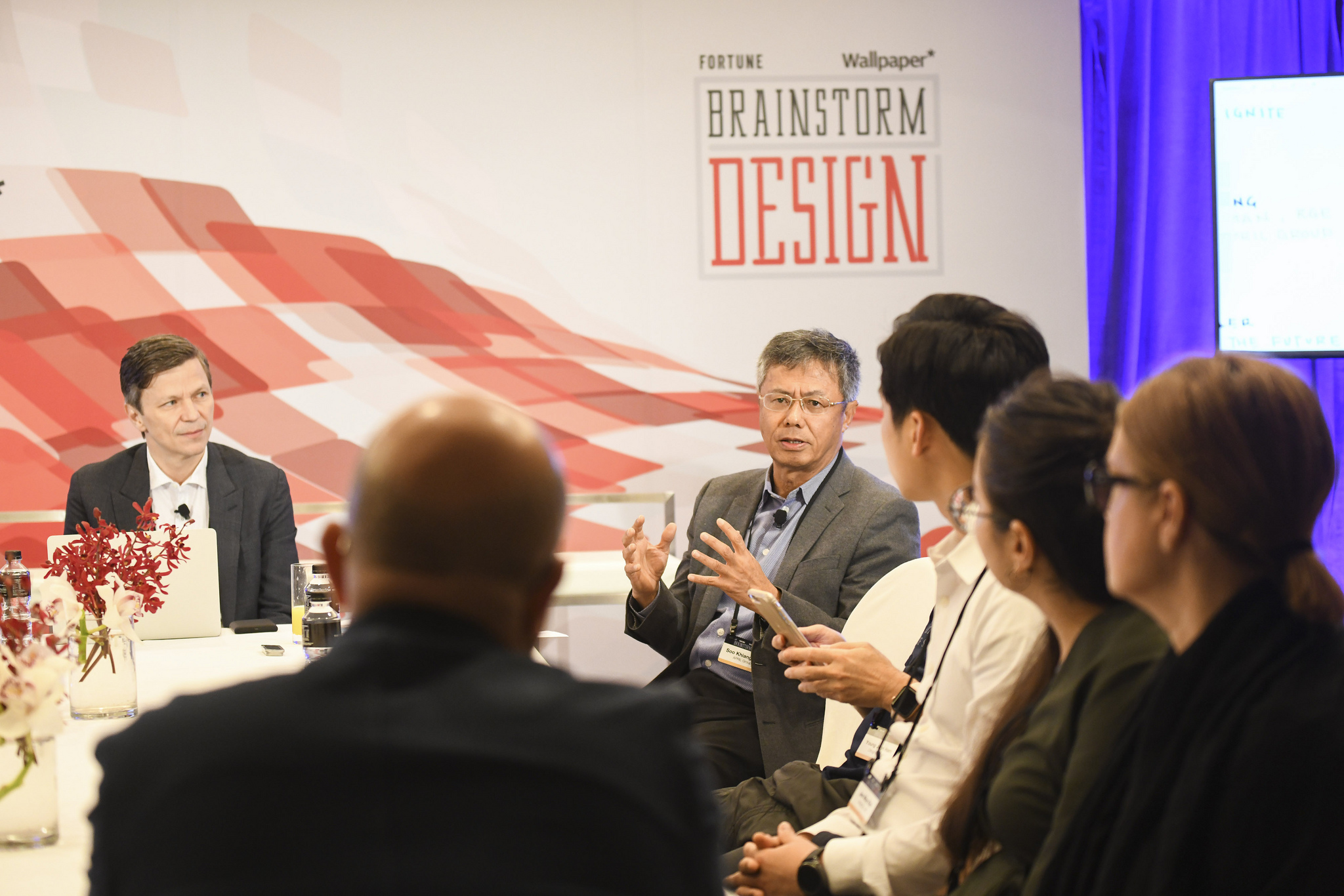 Jason Wild of Salesforce and Bey Soo Khiang of RGE and the APRIL Group speaking at the 2019 Fortune Brainstorm Design conference in Singapore.