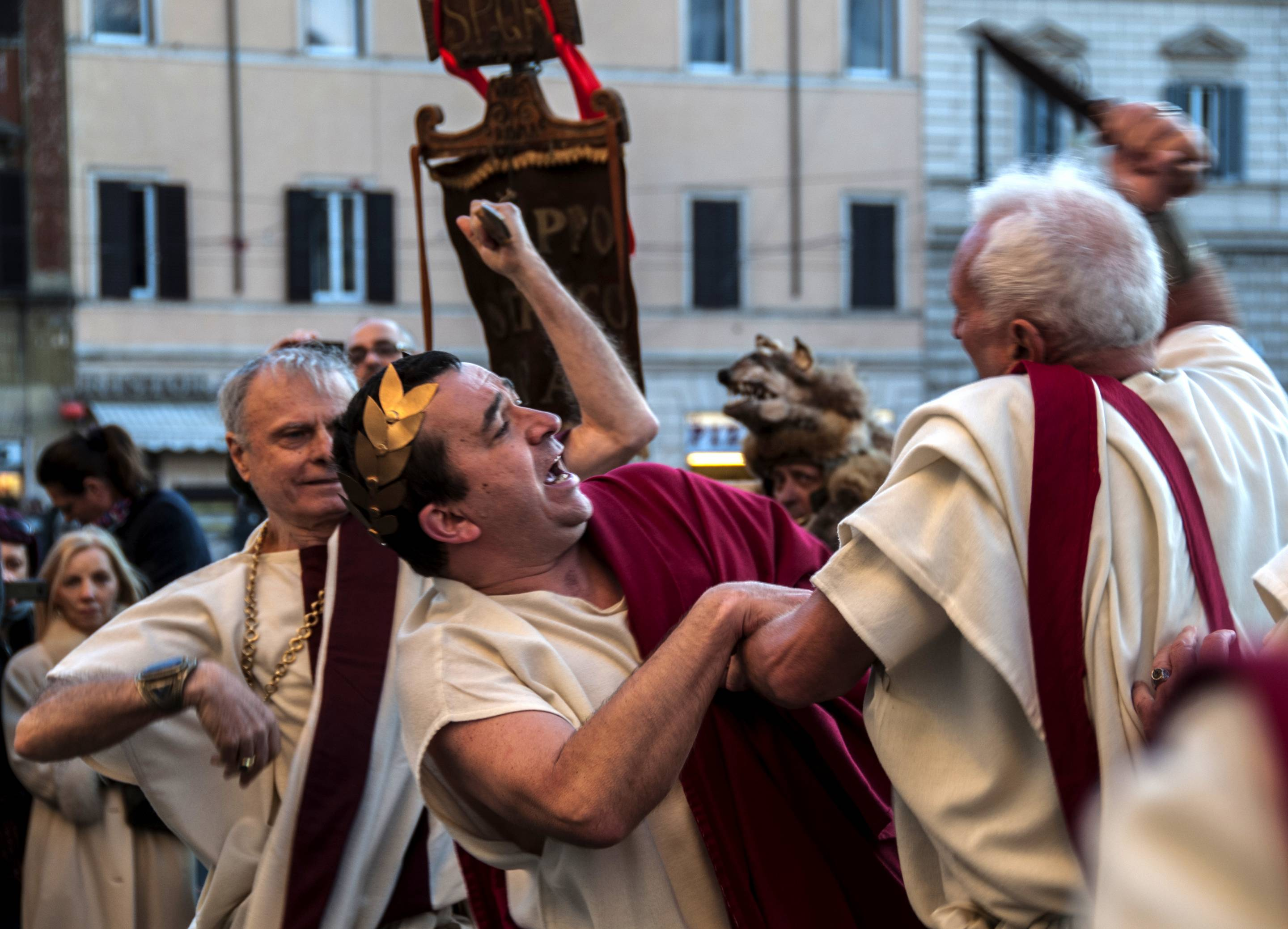 Reenactment of the Ides of March, the day of the killing of