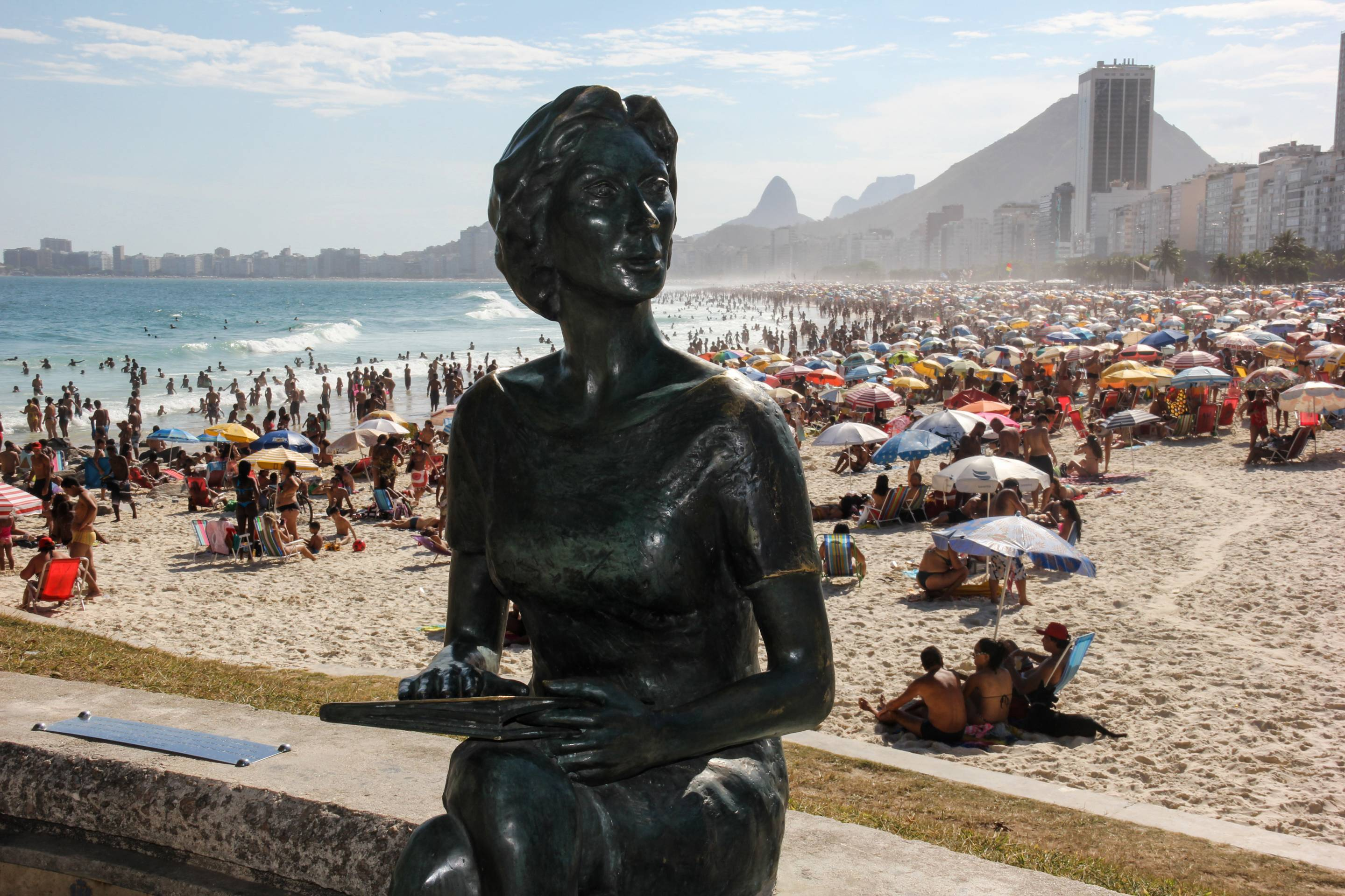 Beaches of Rio de Janeiro are crowded with sunbathers before the begin of summer