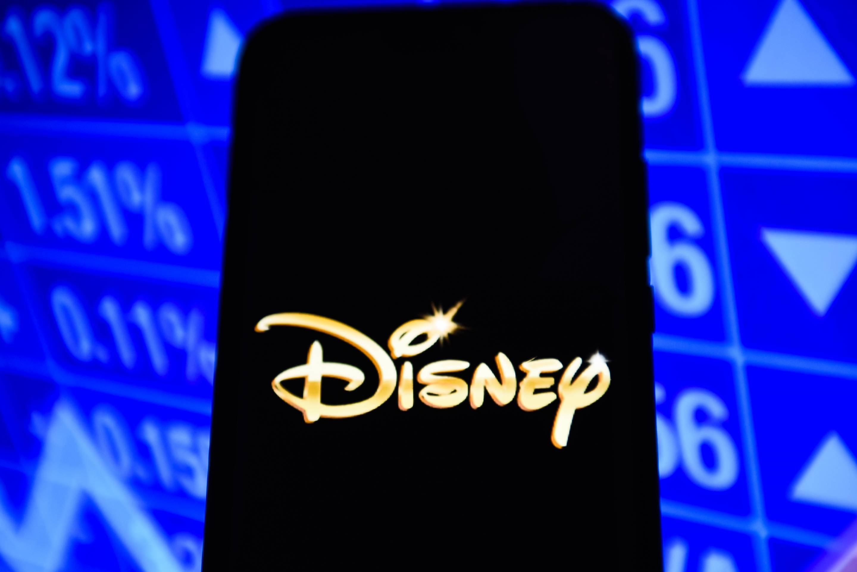 Disney logo is seen on an android mobile phone