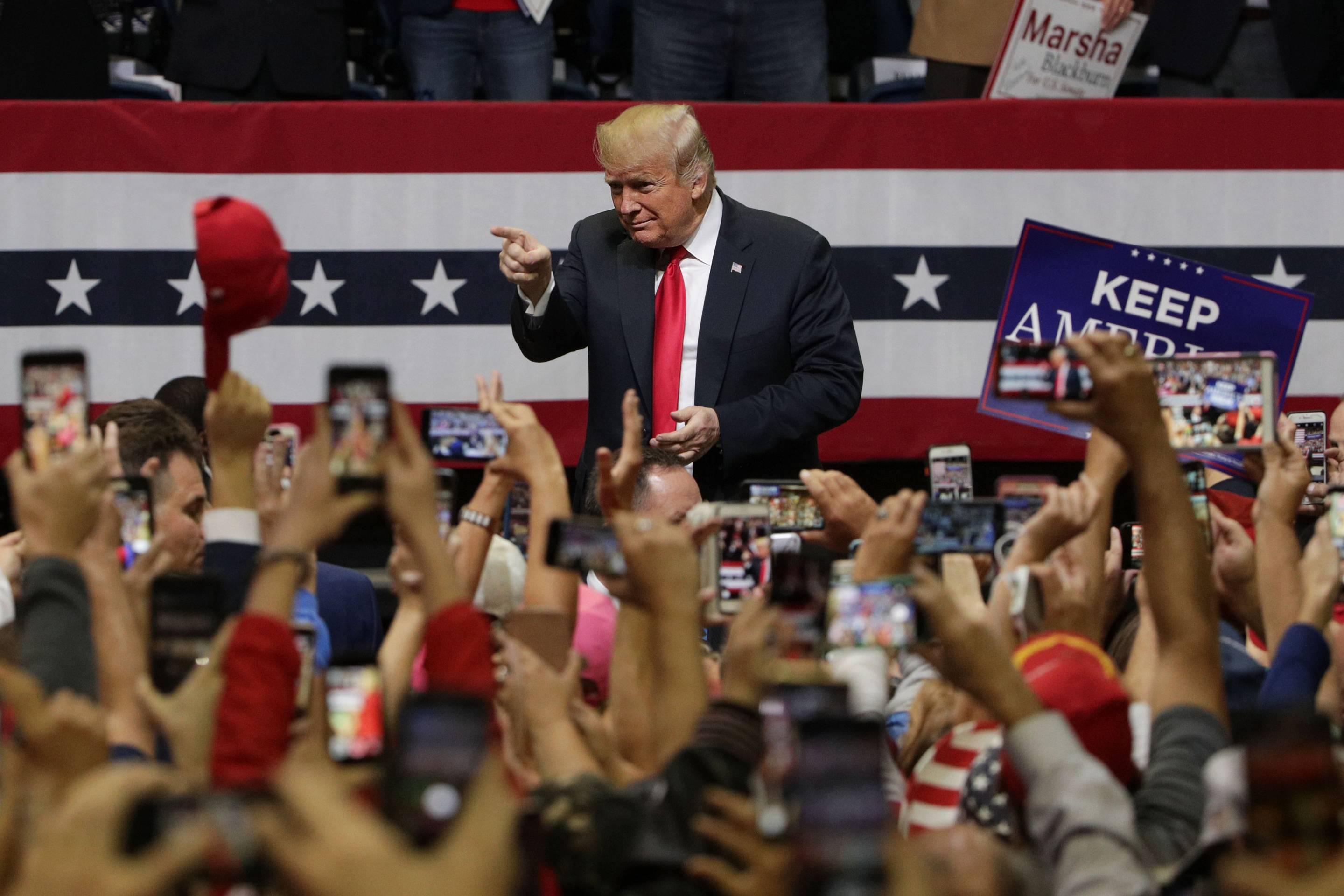 President Trump Holds Campaign Rally In Chattanooga, Tennessee
