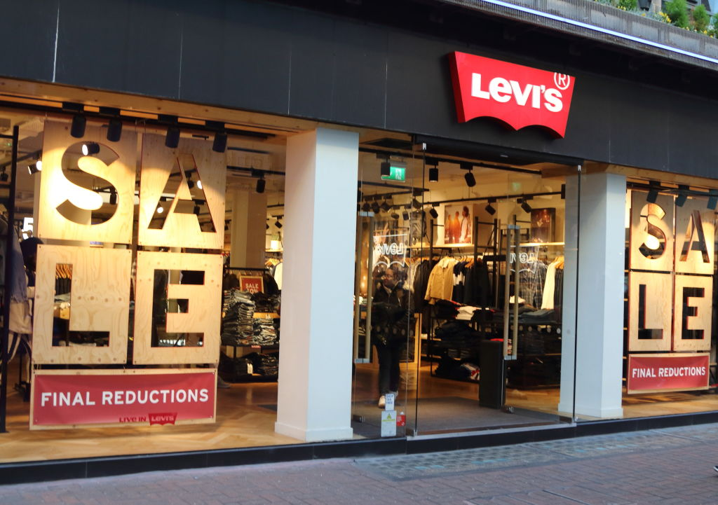 Levi's brand logo seen in Carnaby Street in London, UK