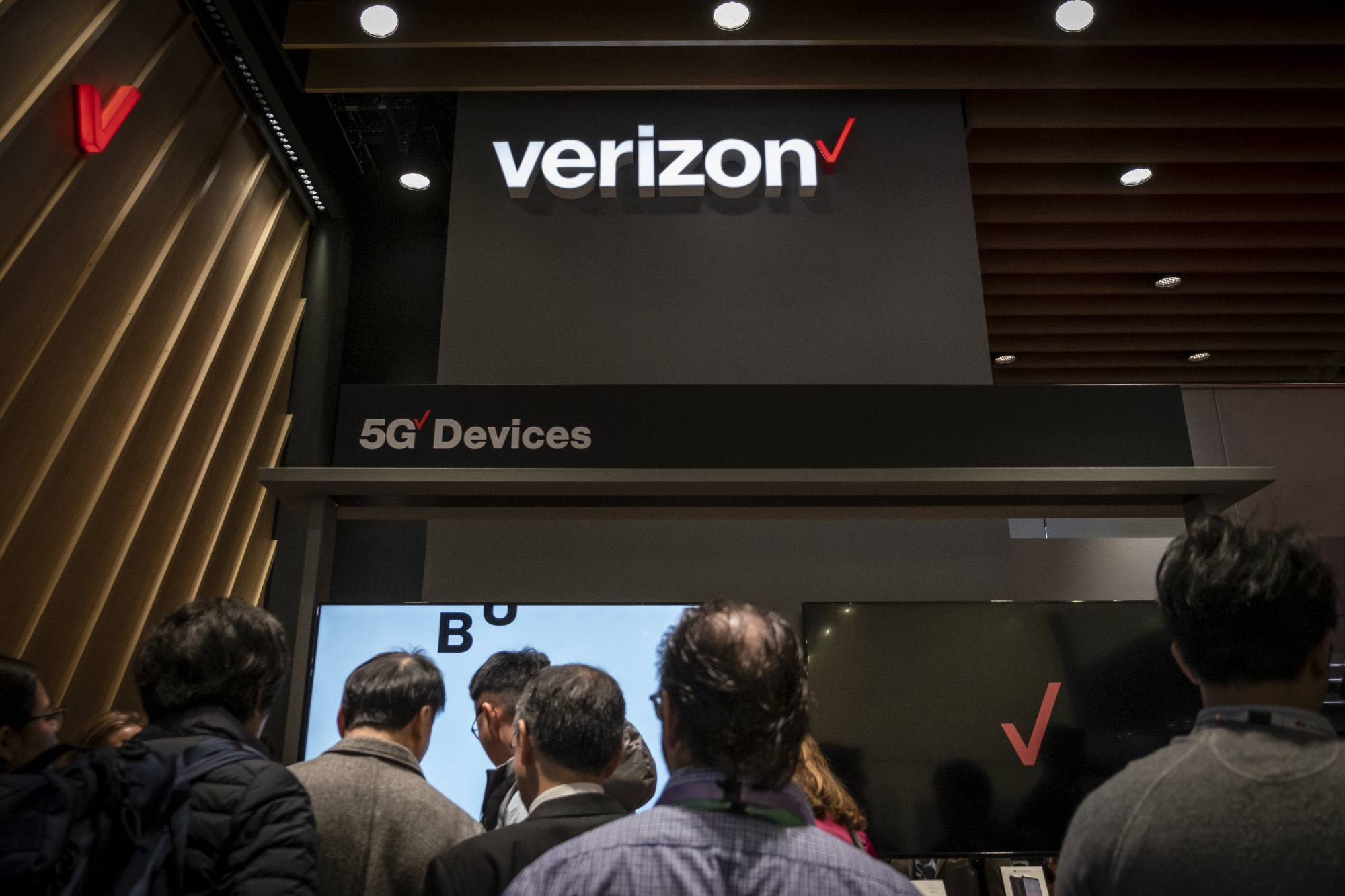 The Verizon logo is seen during MWC 2019.The MWC2019 Mobile