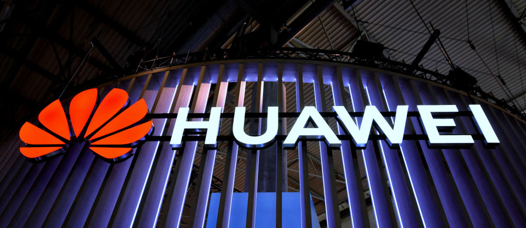 Logo of the Chinese Huawei brand seen during the Mobile