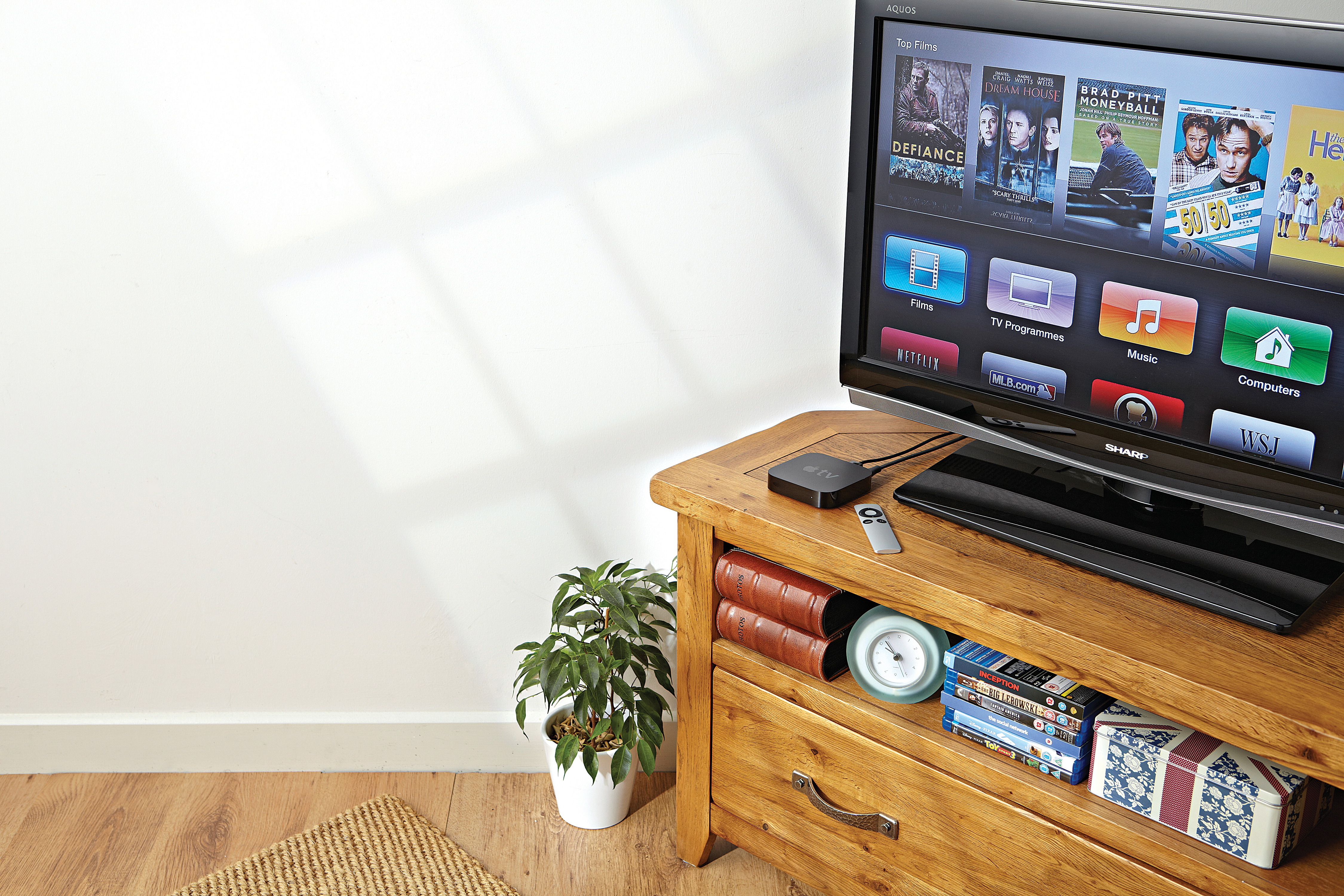 an apple tv connected to a TV set