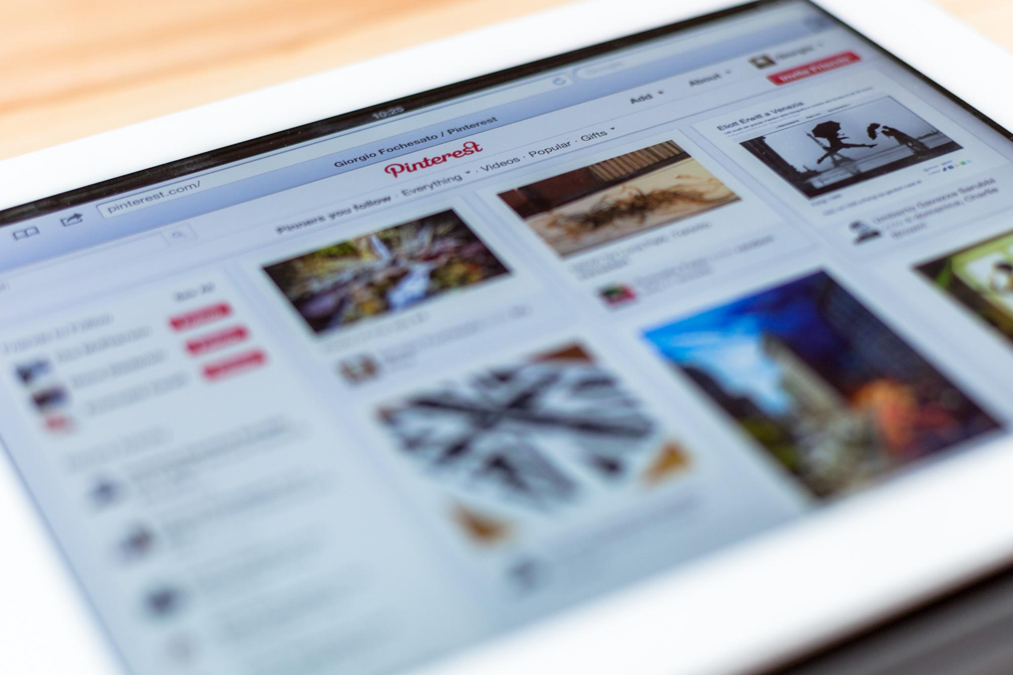 Pinterest on an iPad 3