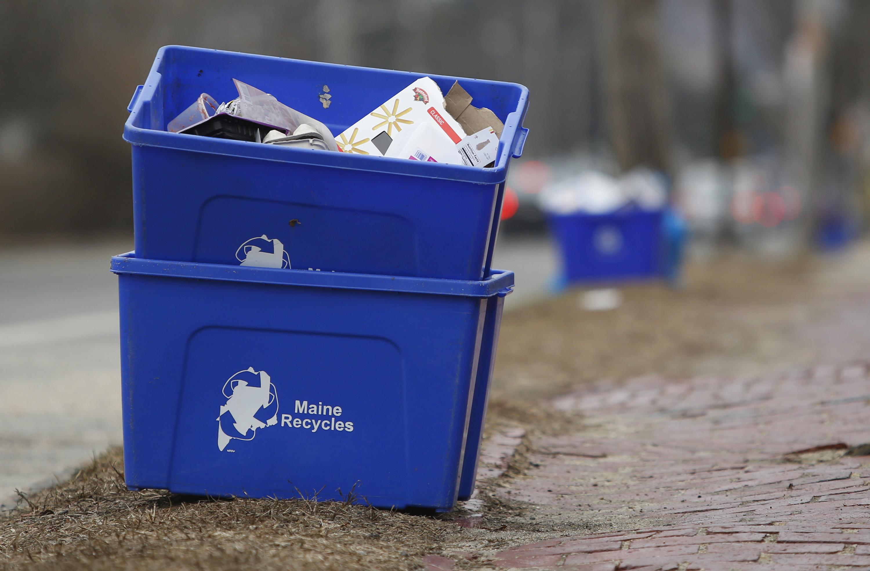 Recycling bins in Portland