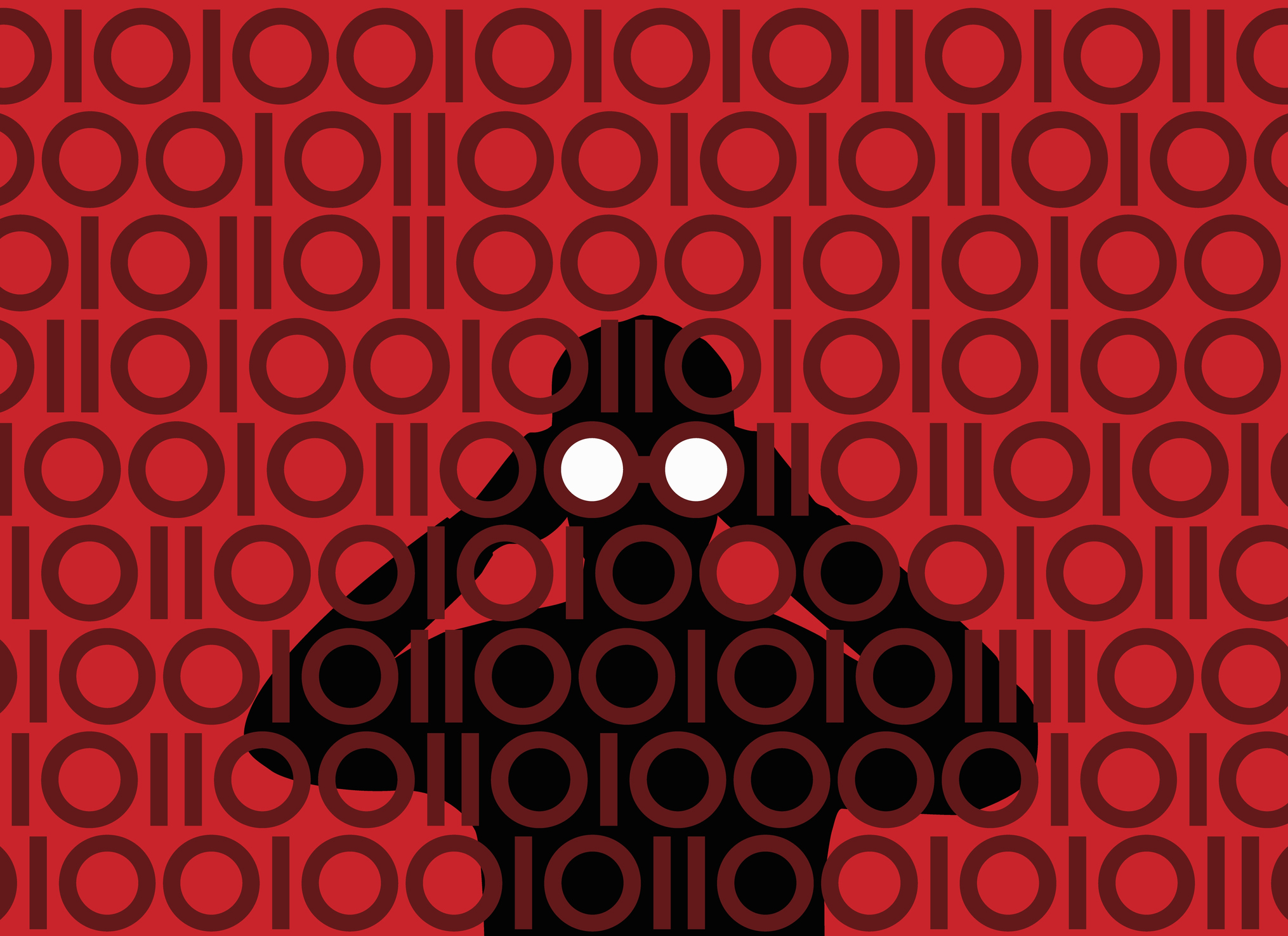 Businessman with binoculars peering through binary pattern