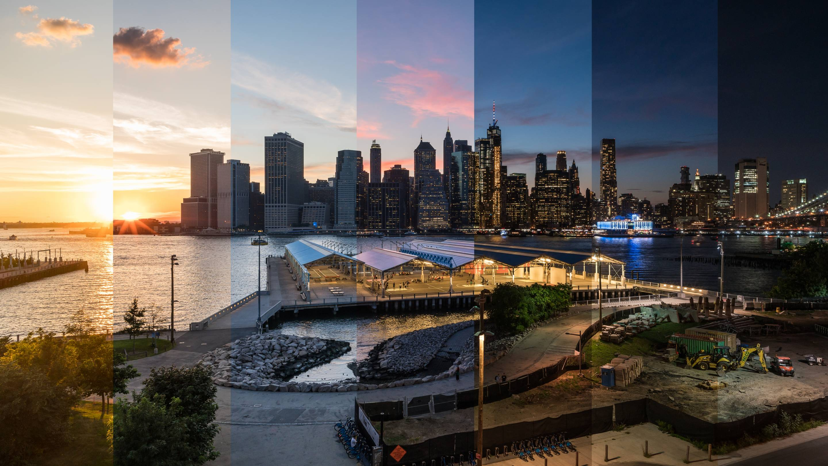 Composite Day to Night View of Lower Manhattan - New York