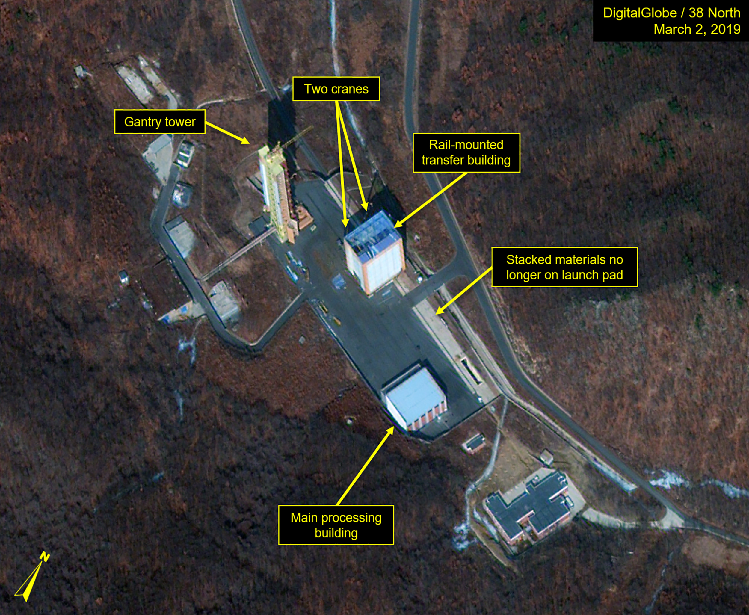 SOHAE SATELLITE LAUNCH PAD, NORTH KOREA - MARCH 2, 2018: Figure 1. Rail-mounted transfer building is being rebuilt.